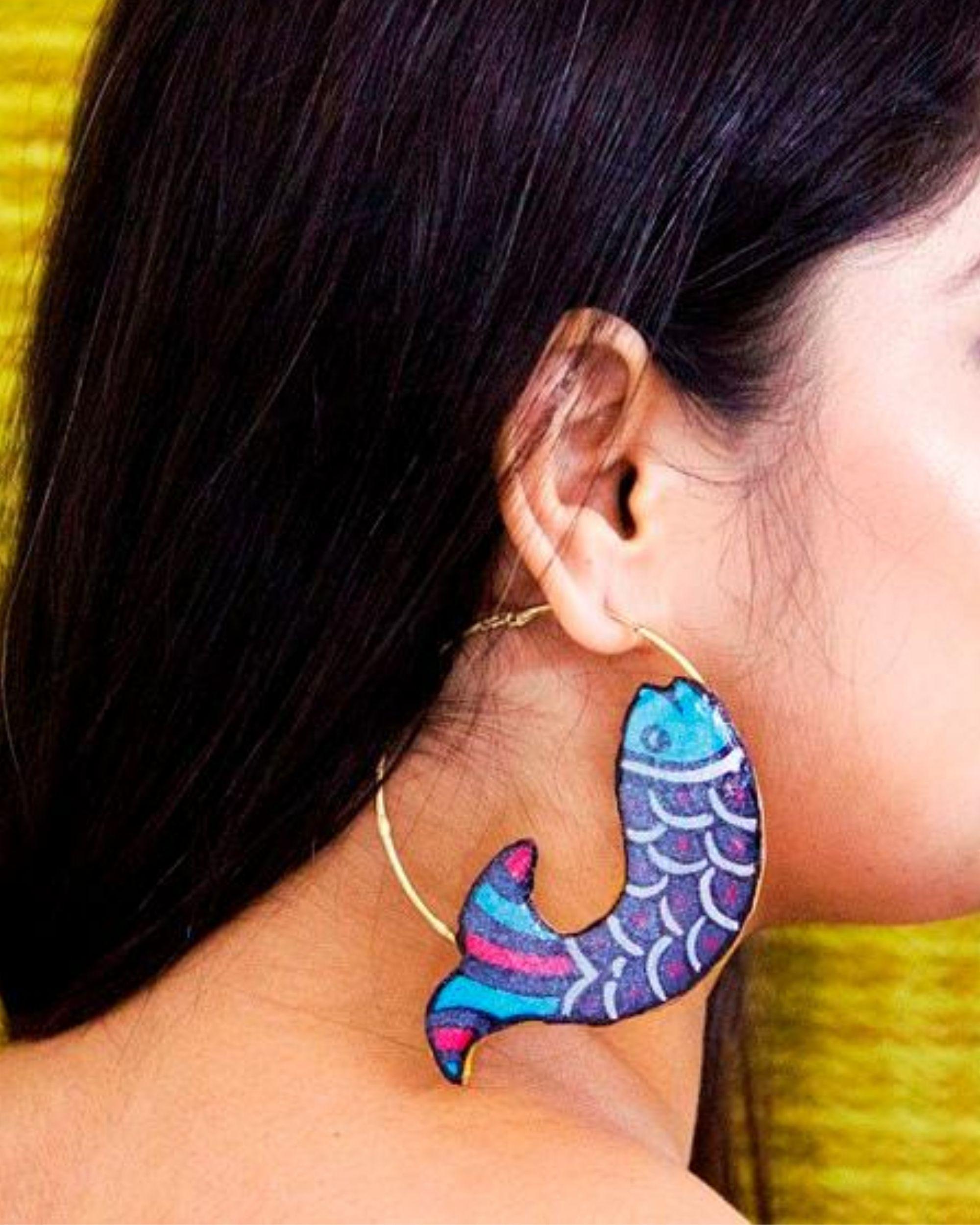 Blue fish motif terracotta hoop earring