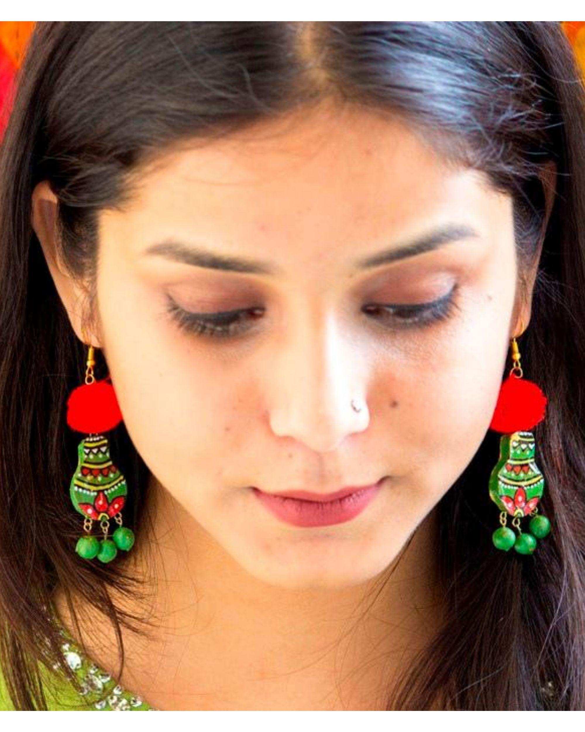 Green matki terracotta dangler earring with pom pom