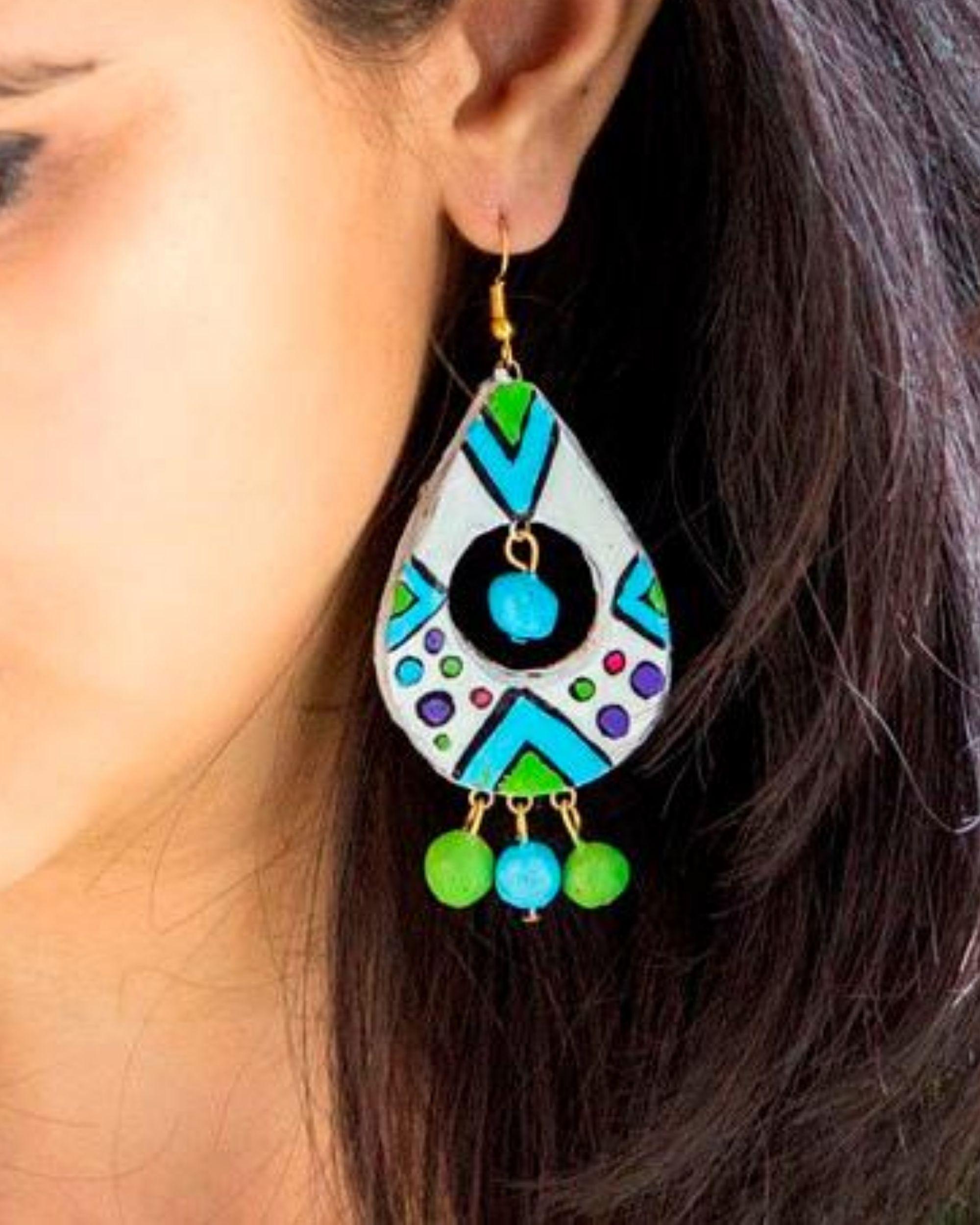 Vibrant hued drop earring