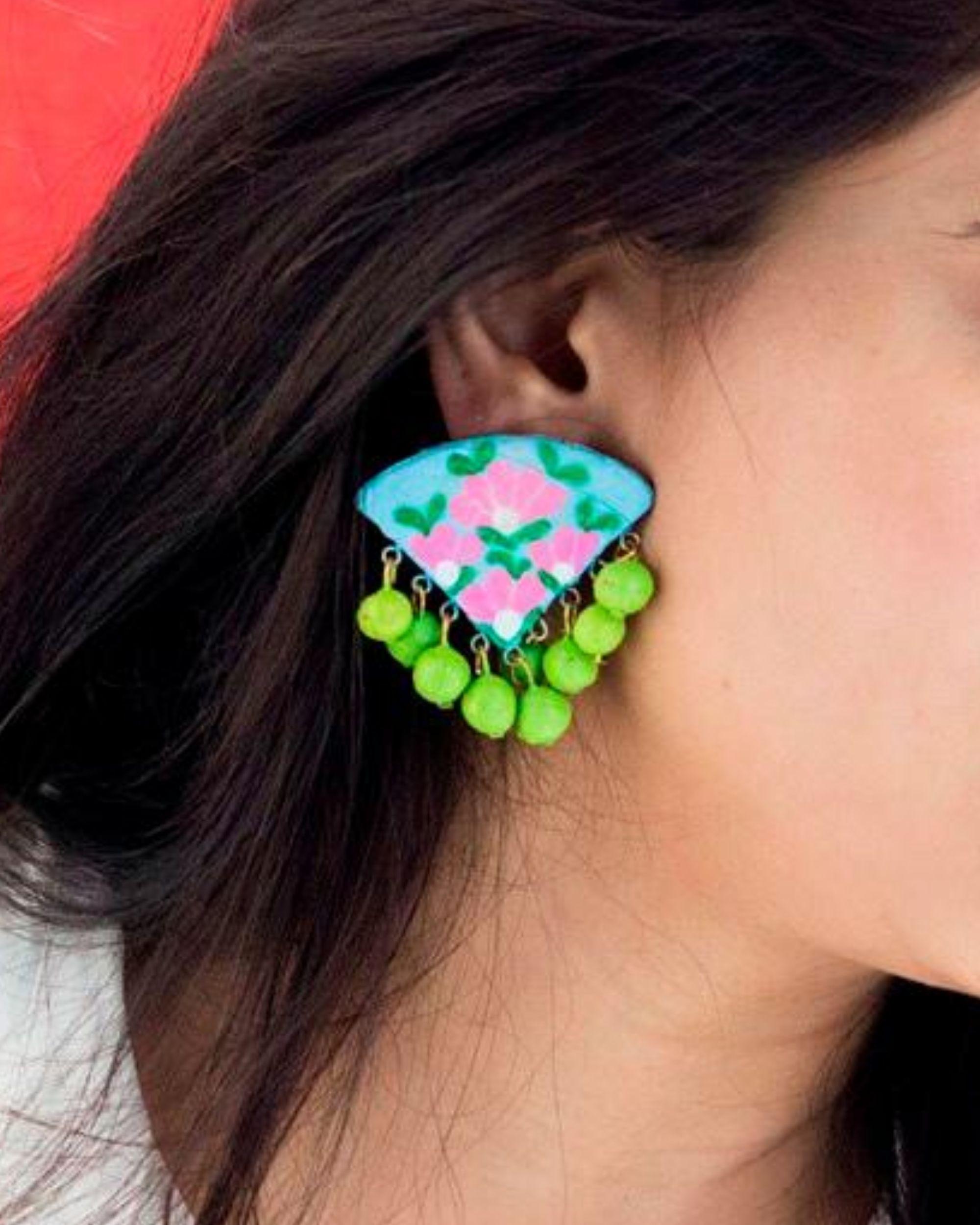 Flower hand painted trigon earring