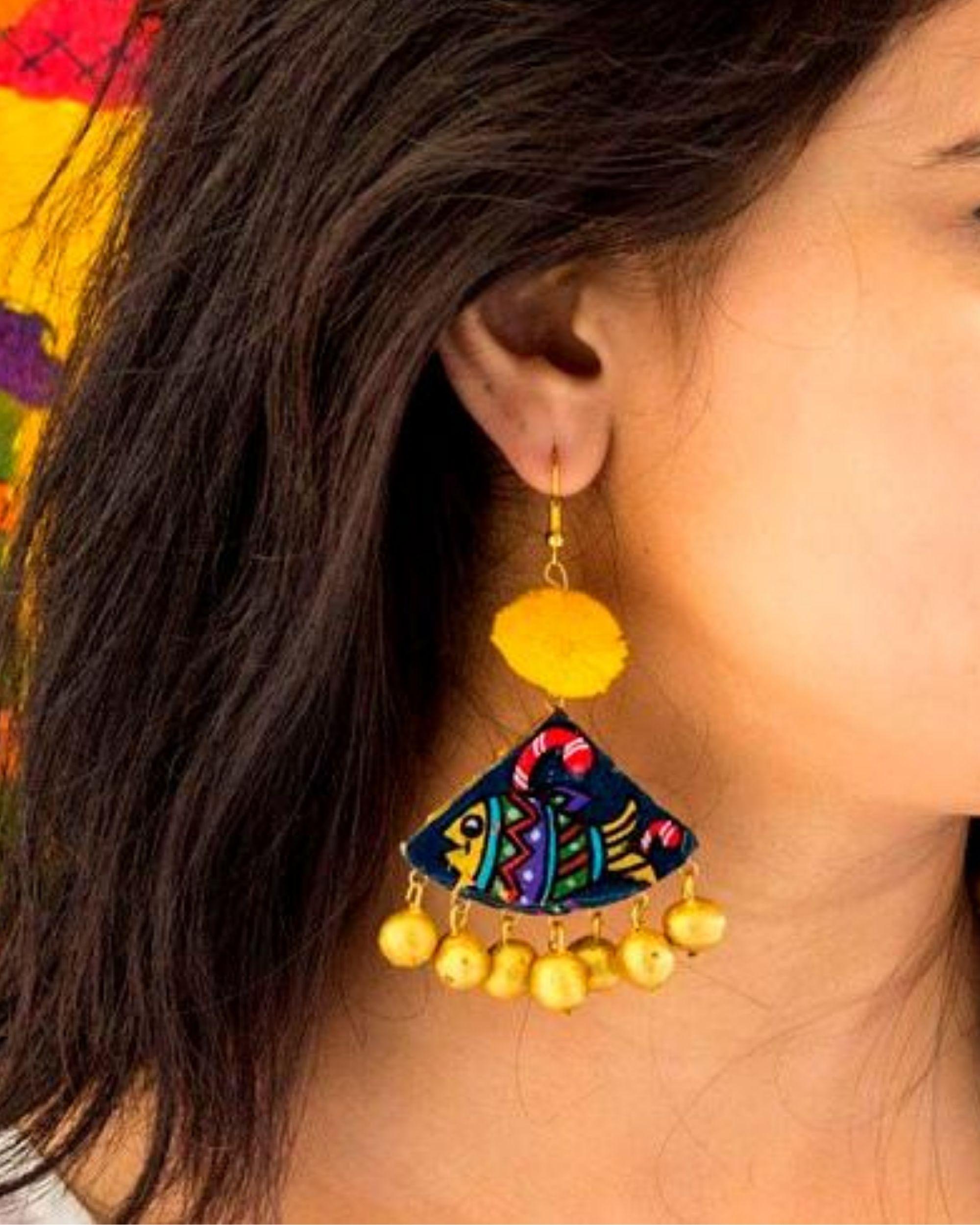 Fish motif hand painted trigon earring