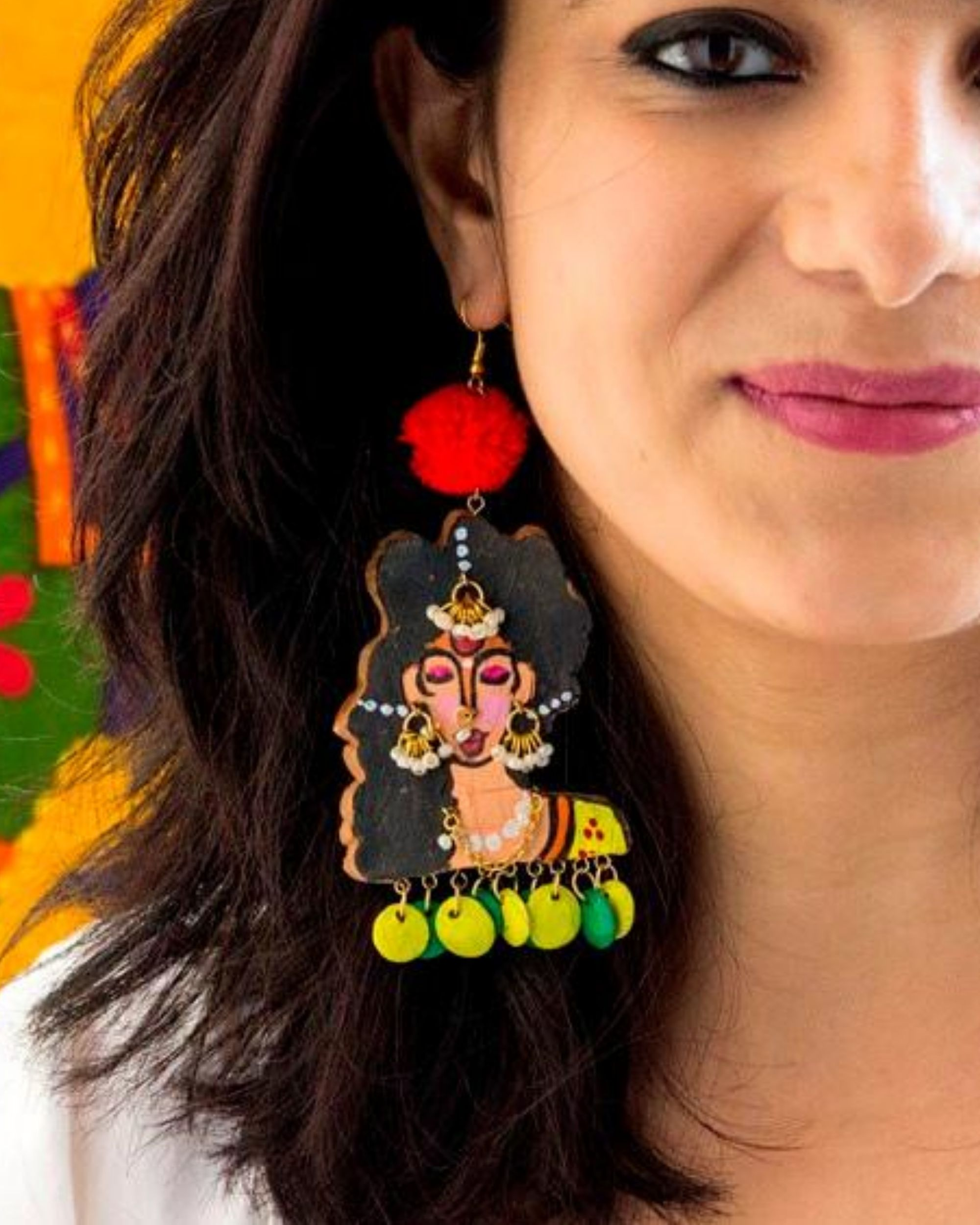 Indian lady terracotta earring with beads