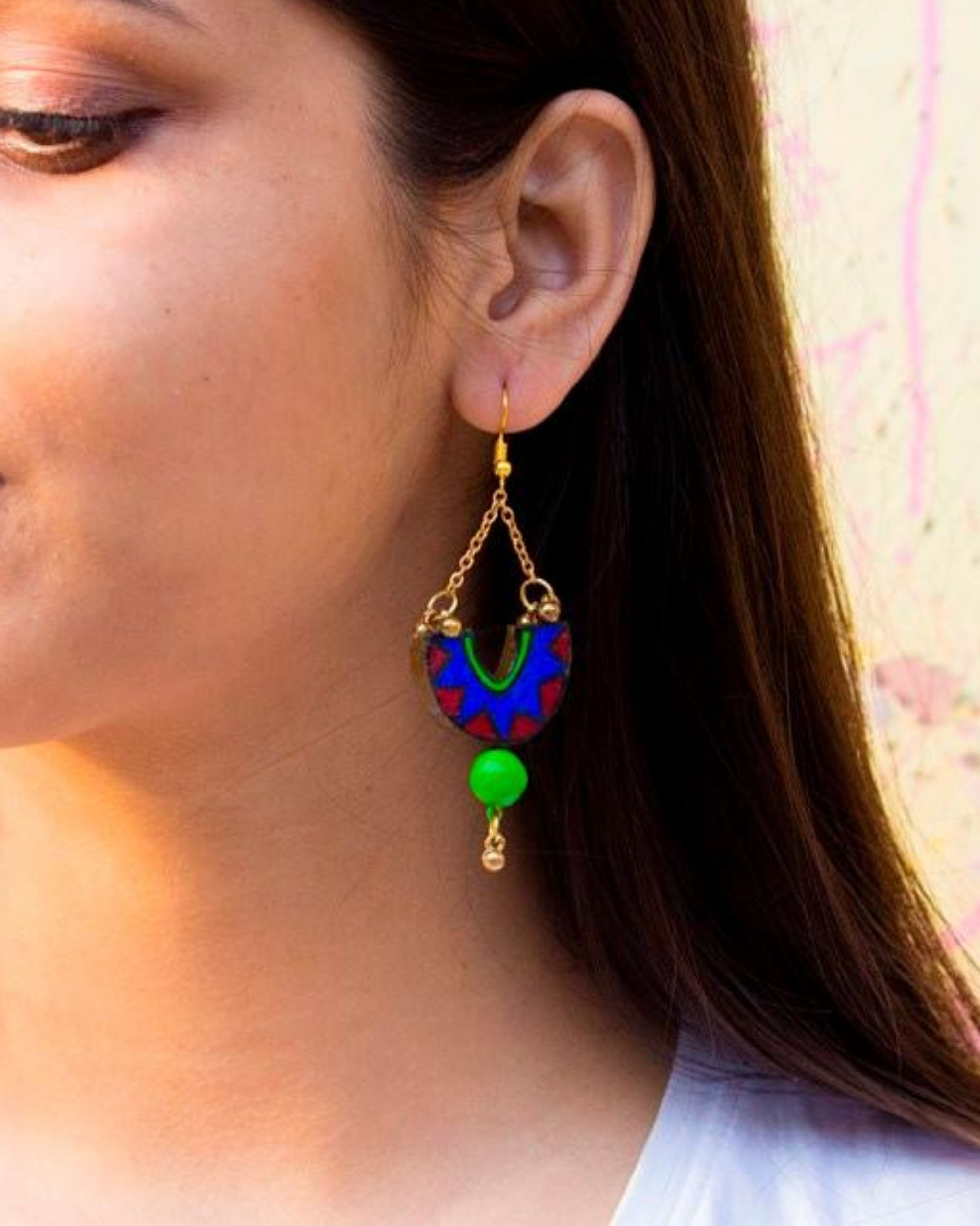 Blue hand painted dome shaped earring