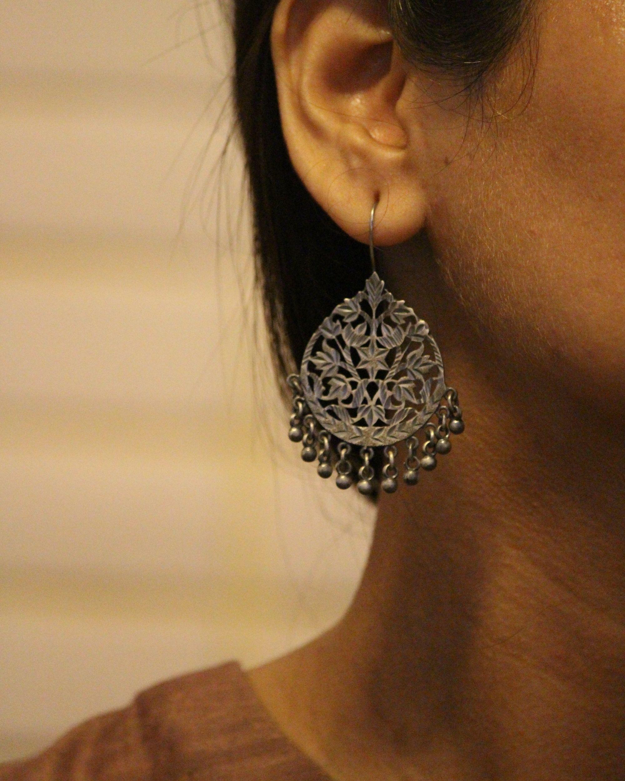Patra work oxidized ghunghroo earring