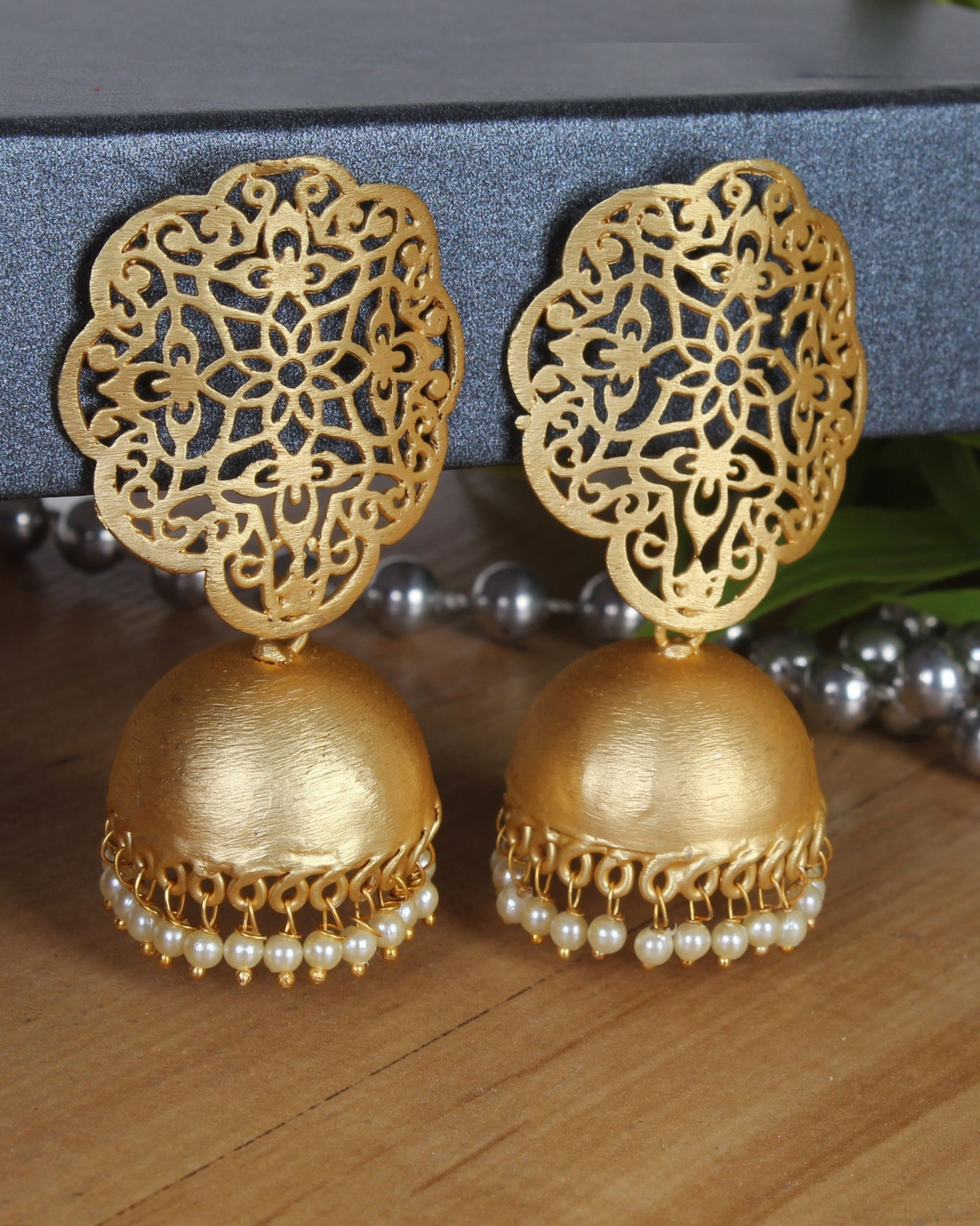 Handcrafted jhumka with pearl beads