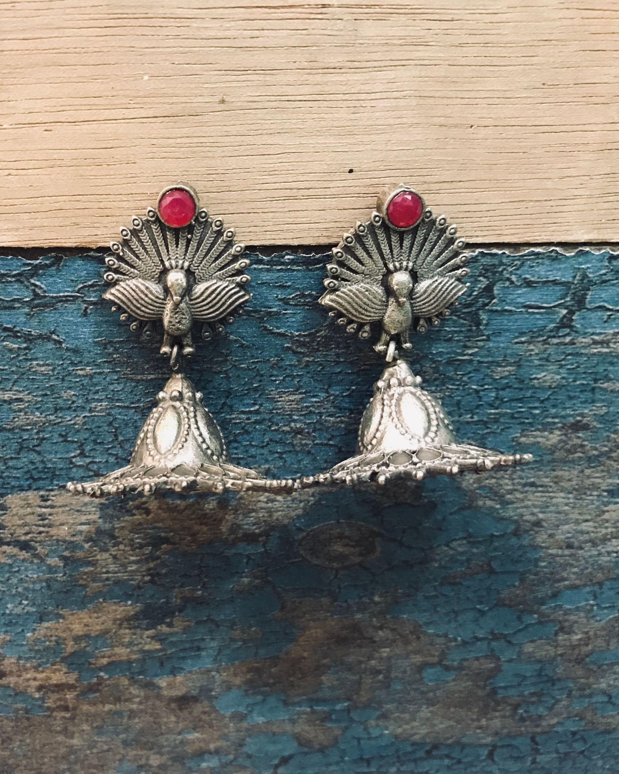 Red stone dancing peacock jhumka
