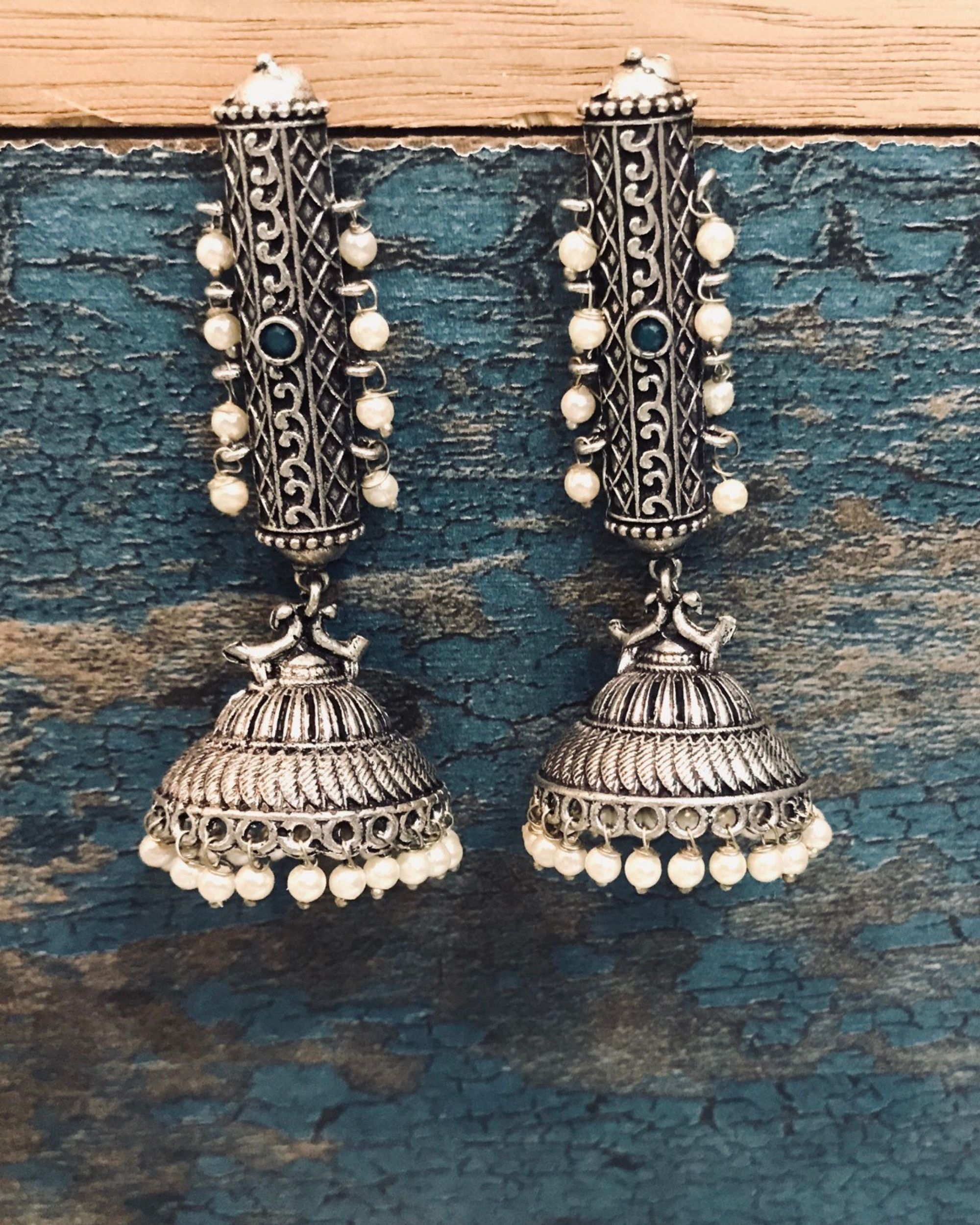 Stone embellished beaded jhumka