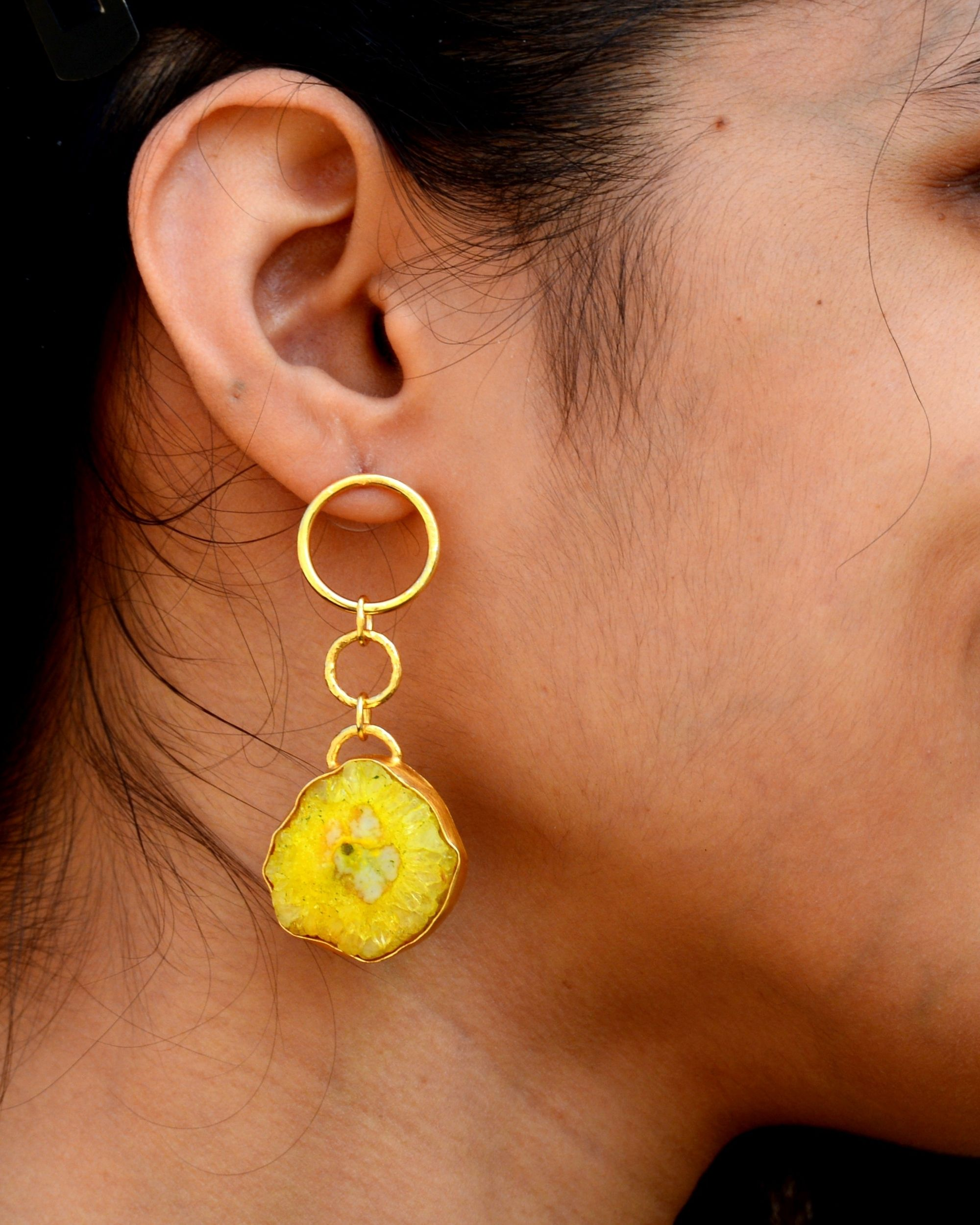 Yellow solar hoop earring