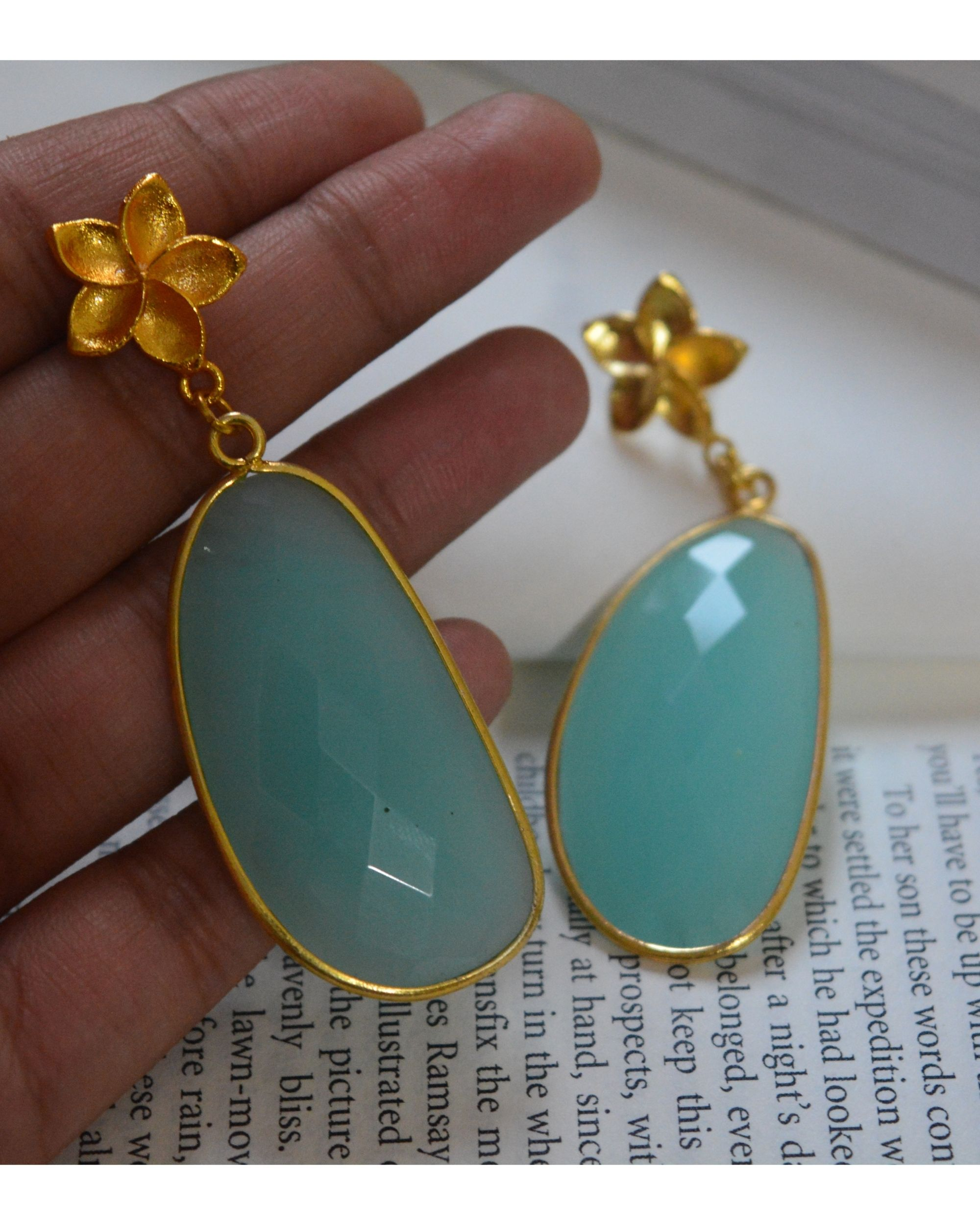 Sea green chalcedony stone flower earring