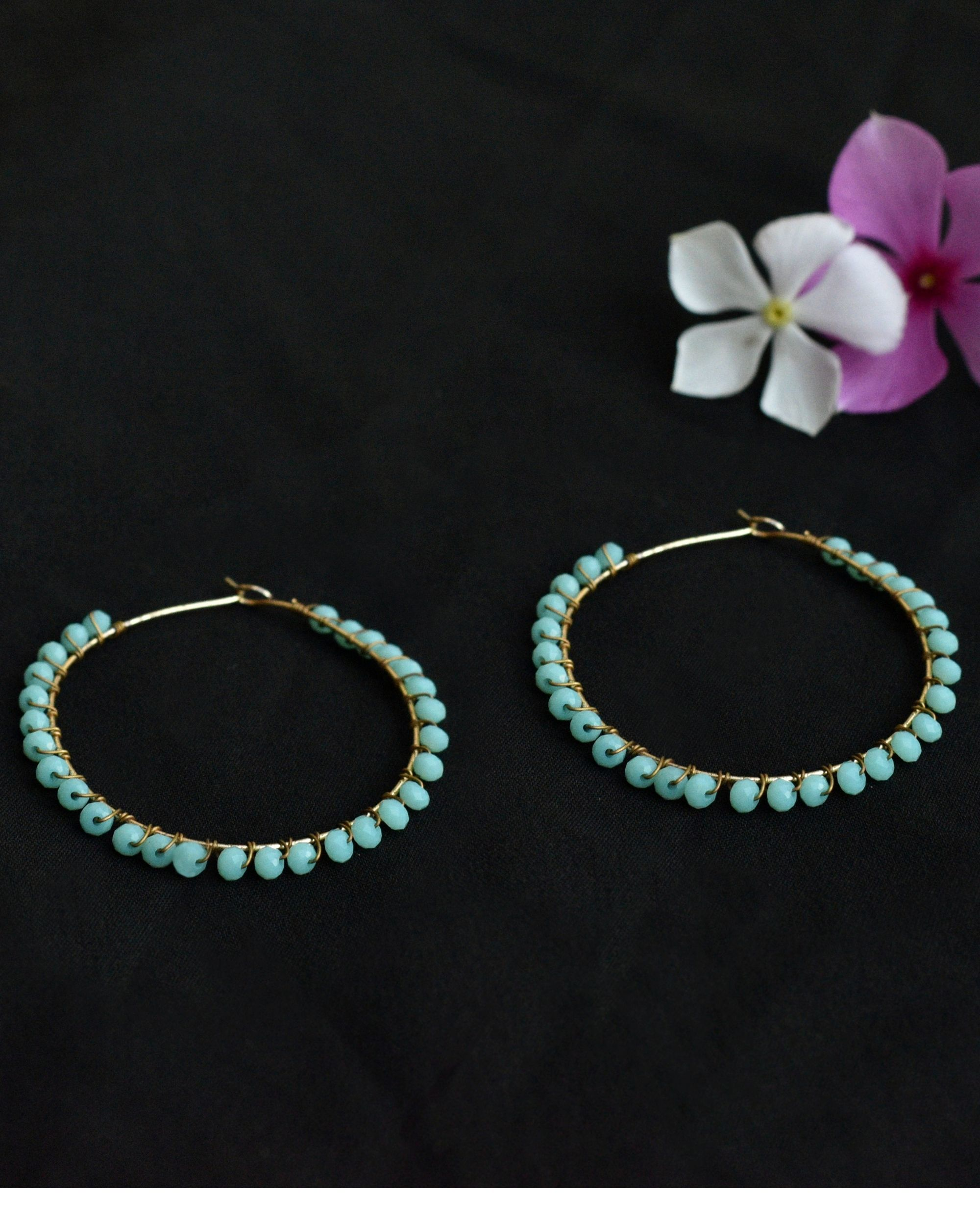 Blue Beaded hoop earrings