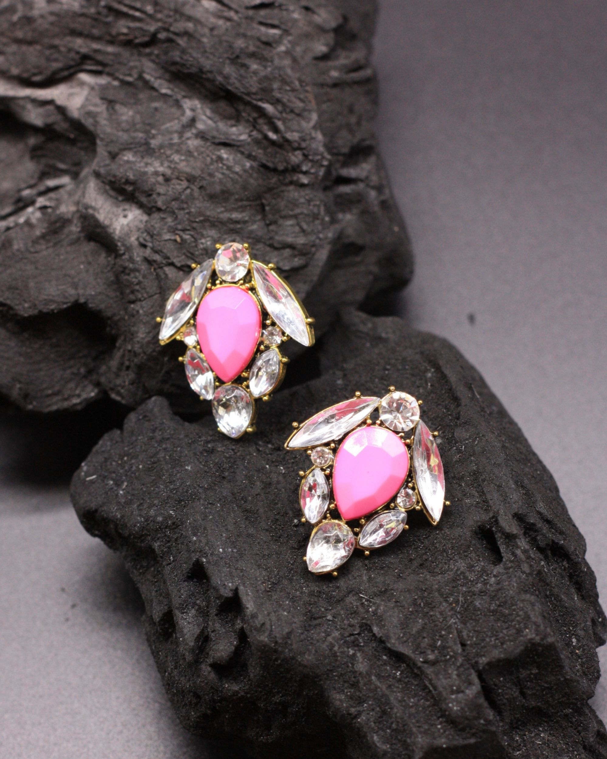 Pink tulip crystal studs