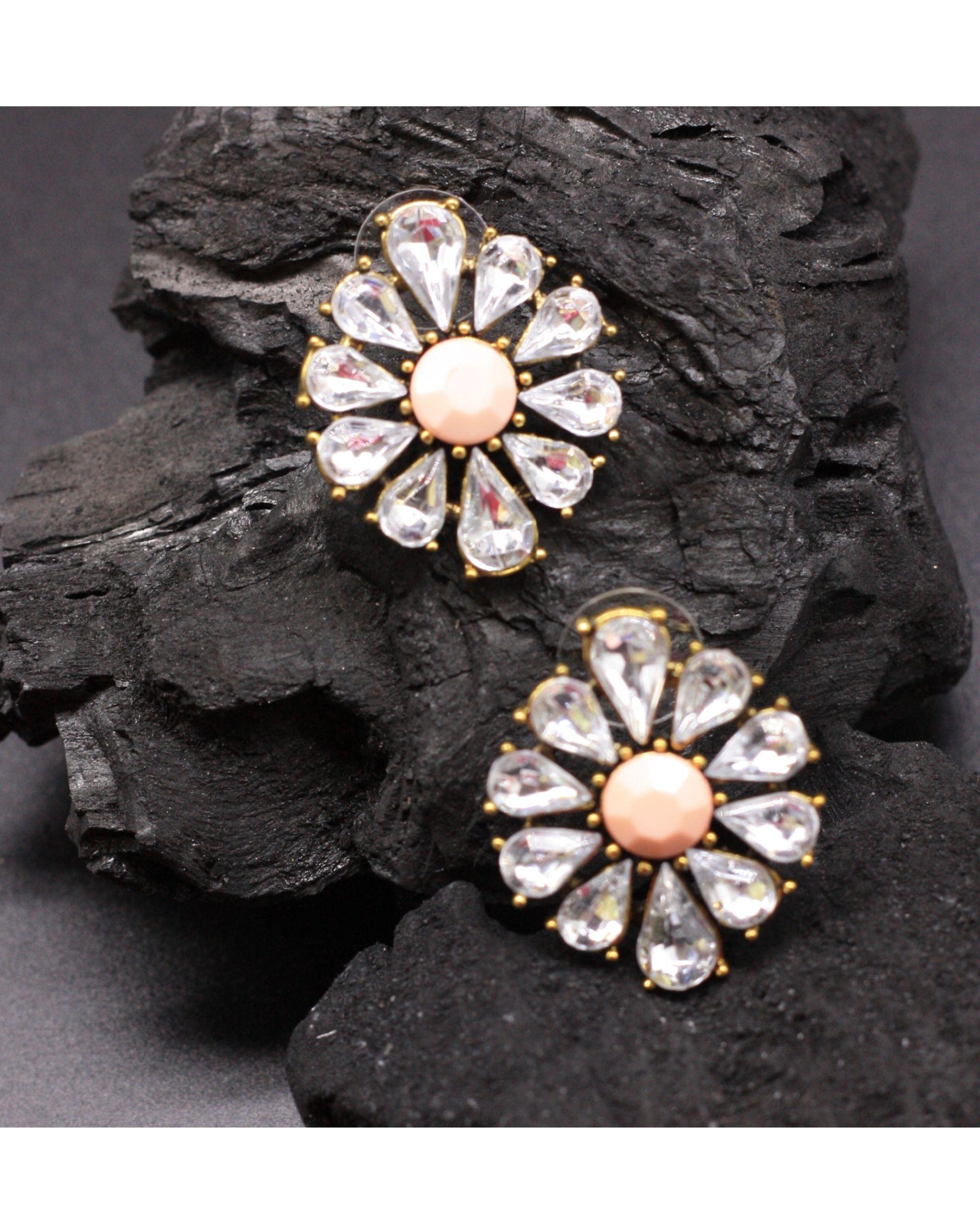Peach floral crystal studs