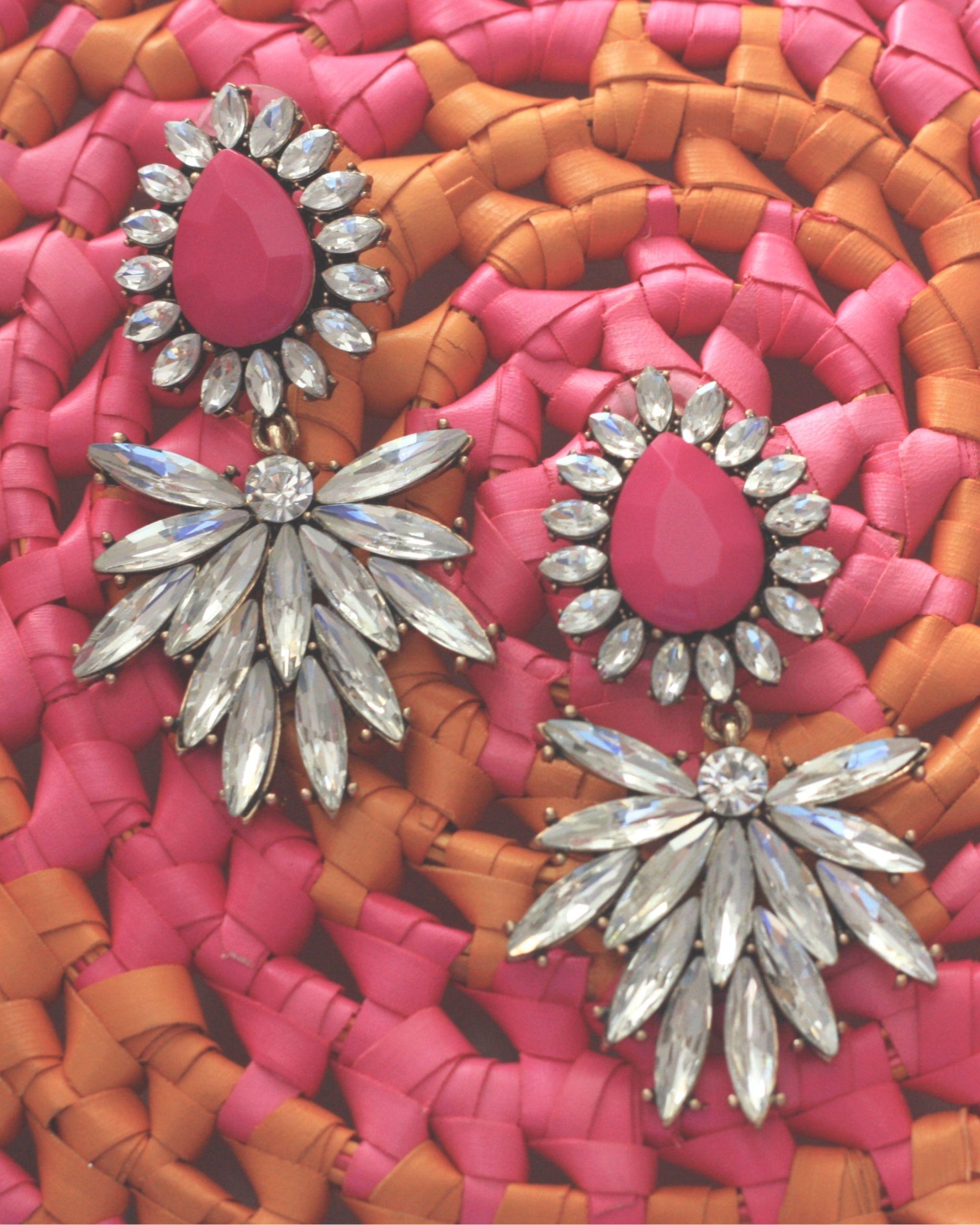 Pink almond shaped crystal drop earrings