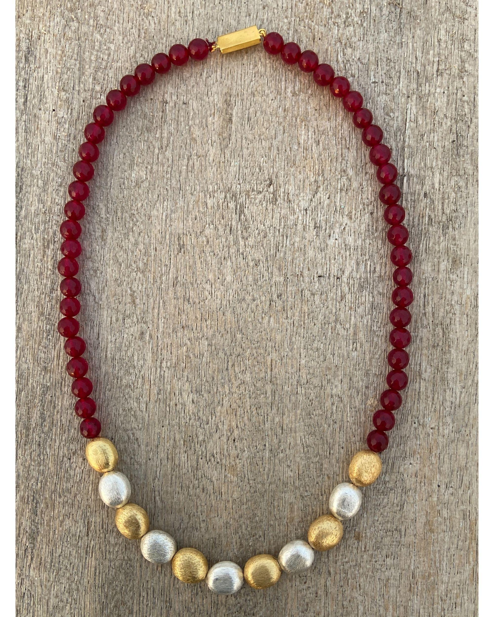 Ruby red beaded neckpiece