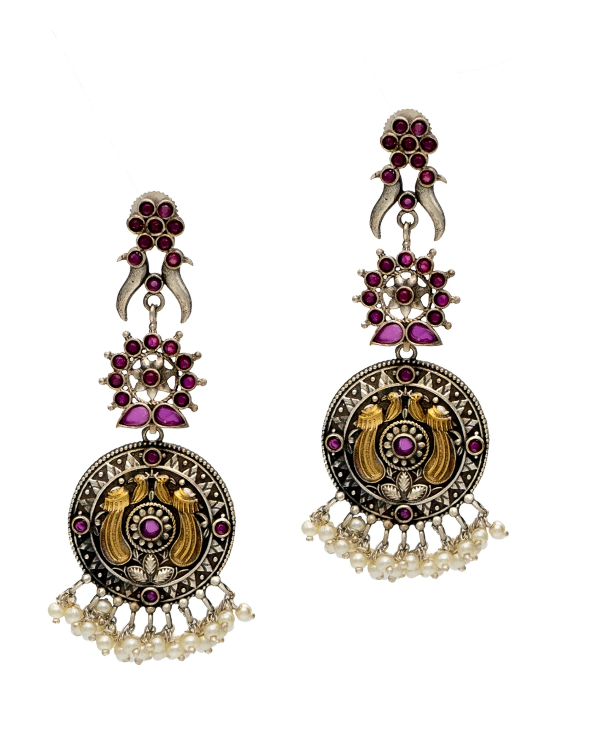 Pink stone embellished tiered beaded earring