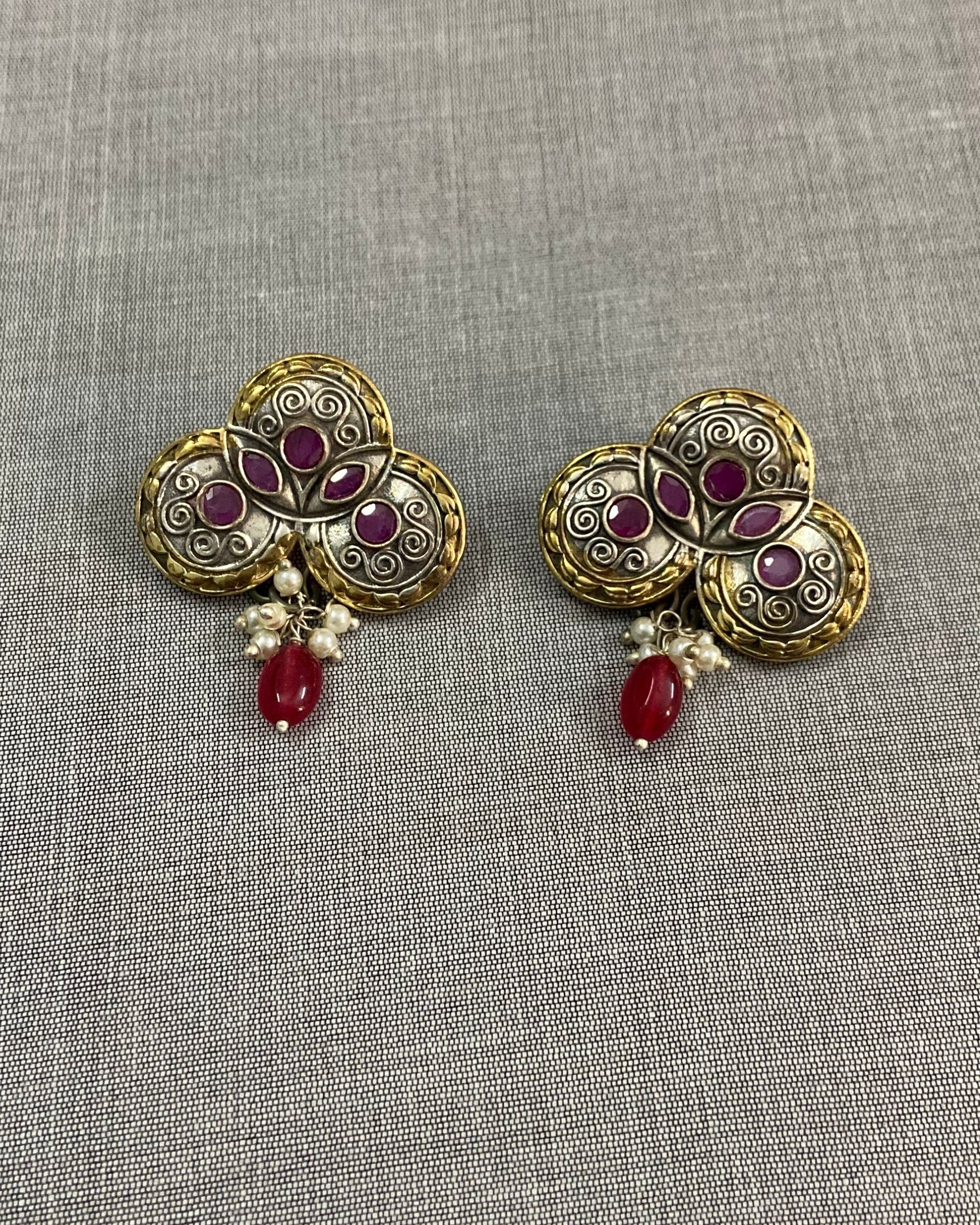 Pink stone embellished beaded antique earring