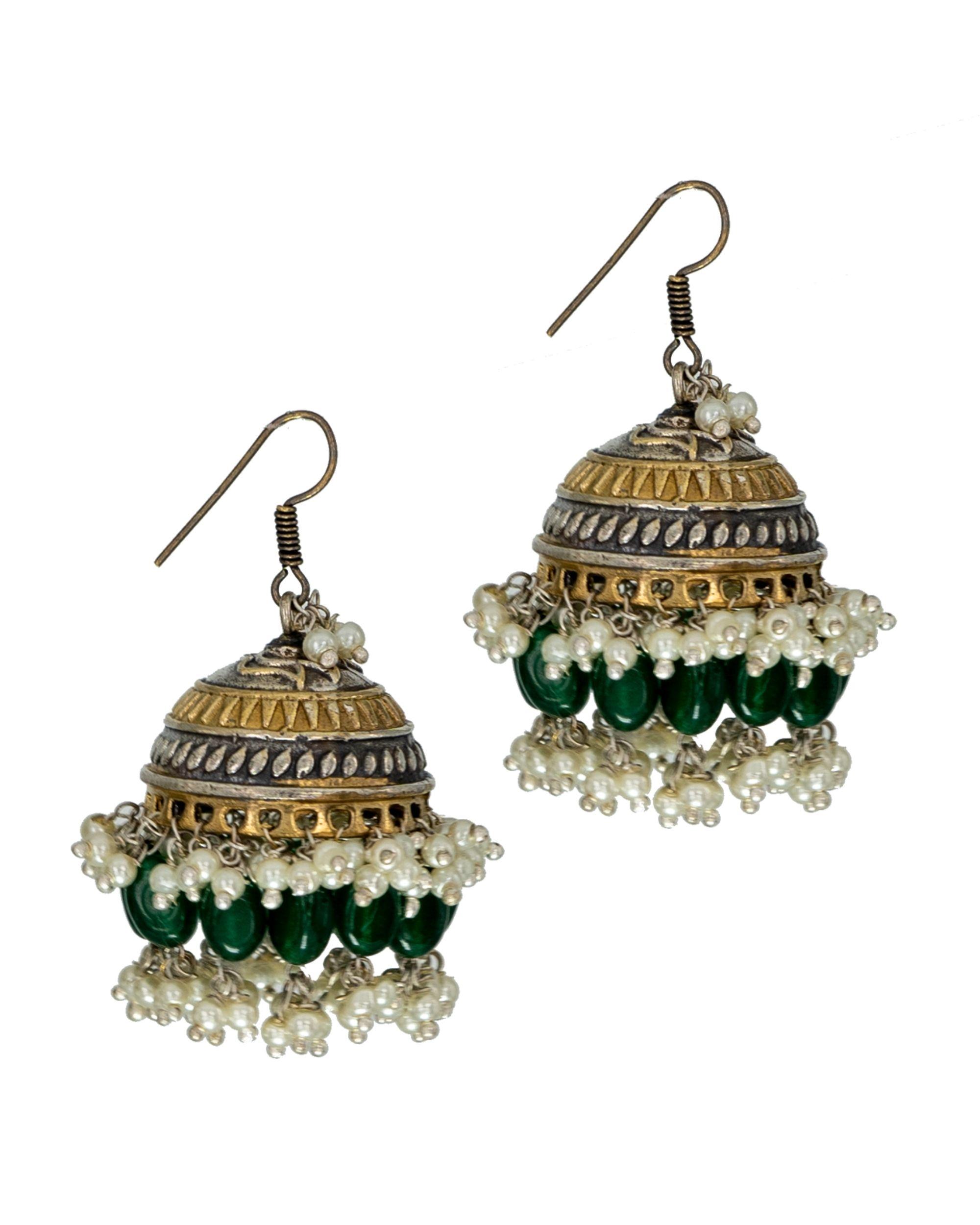 Green and white bead embellished jhumka