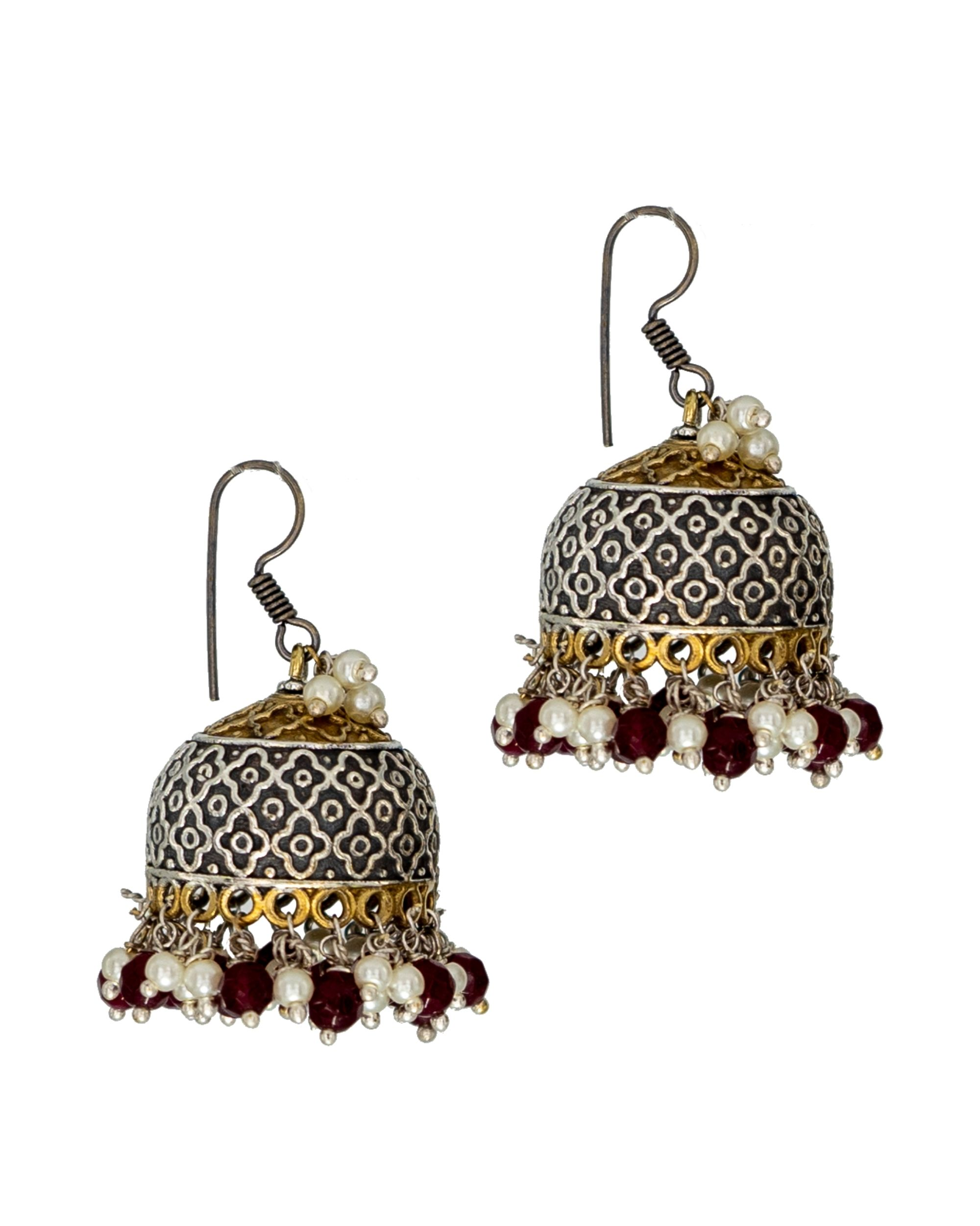 Red and white bead embellished jhumka