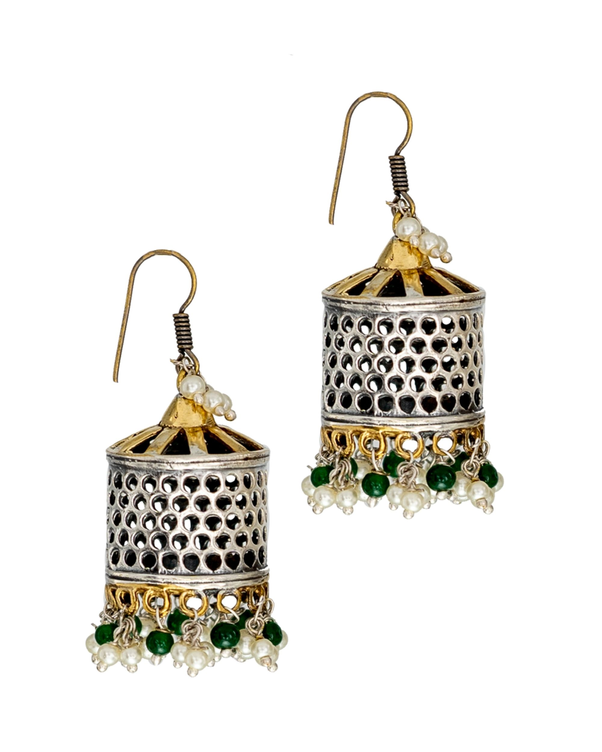 Cage shaped bead embellished jhumka