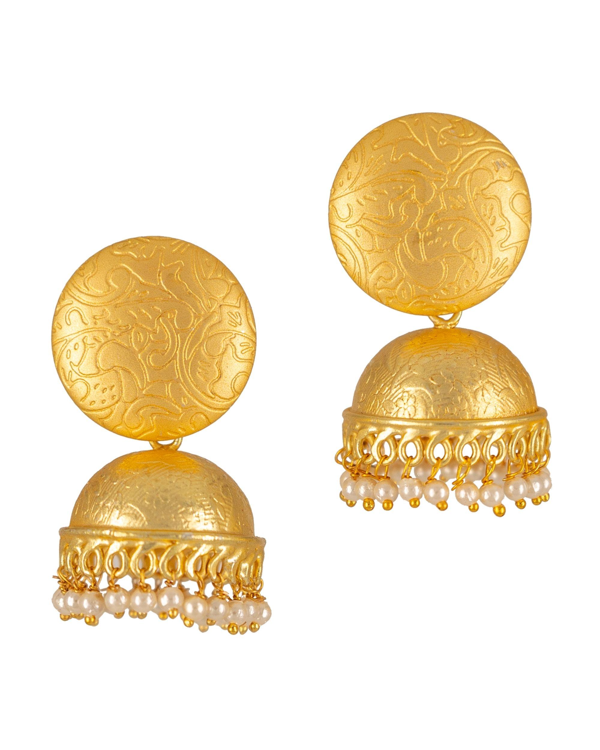 Antique engraved pearl embellished jhumka