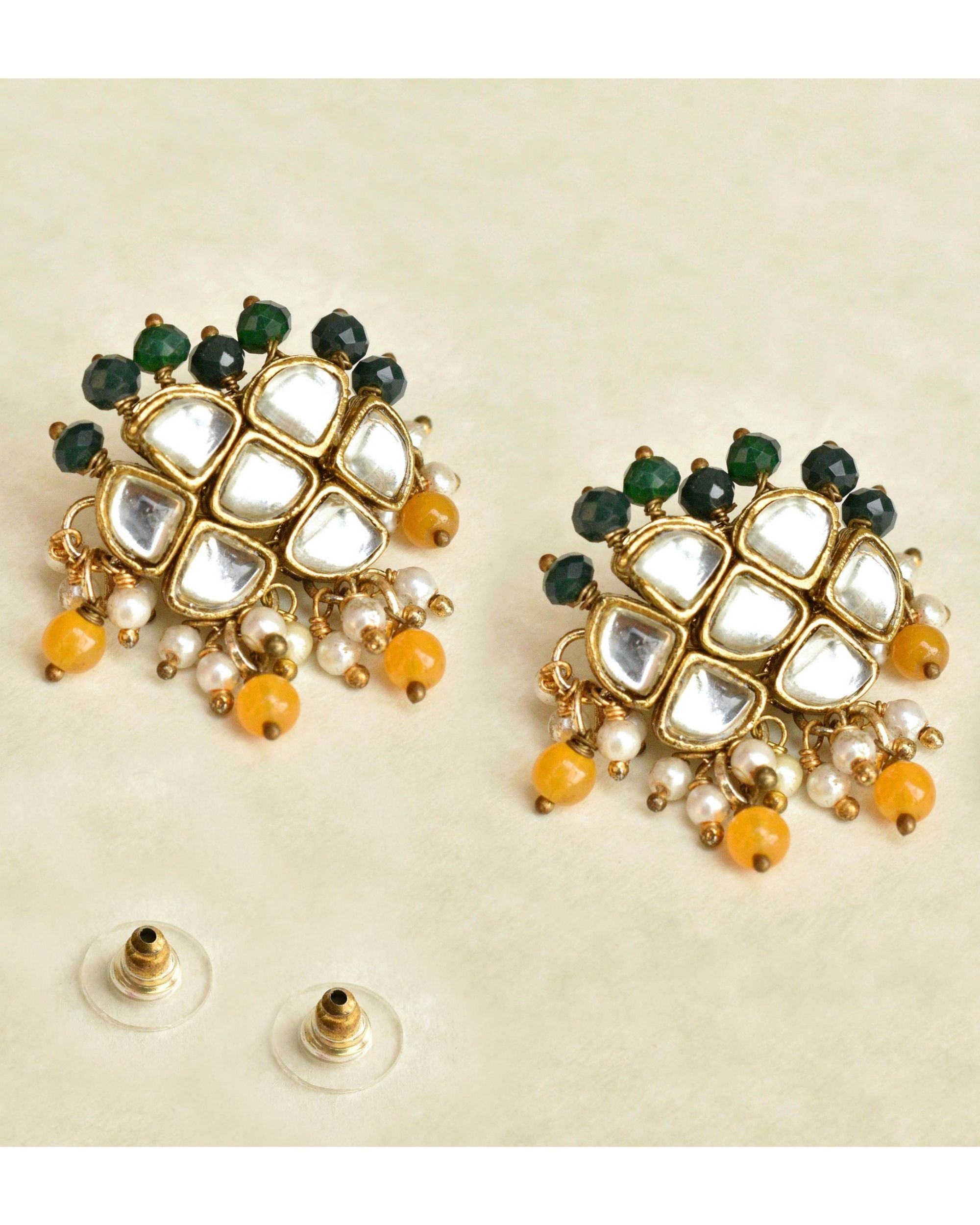 Honeycomb orange and green beaded earrings