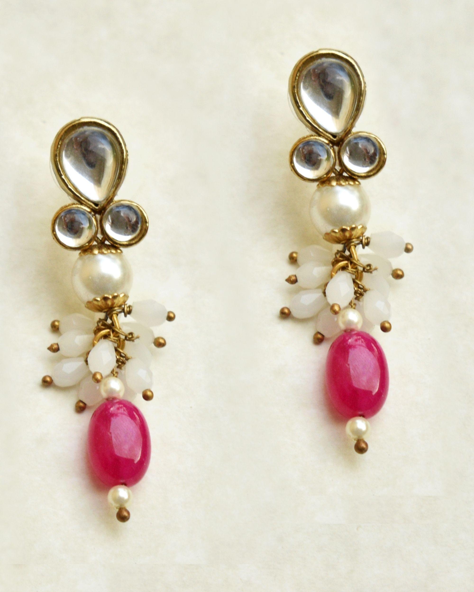 Red stone drop earrings