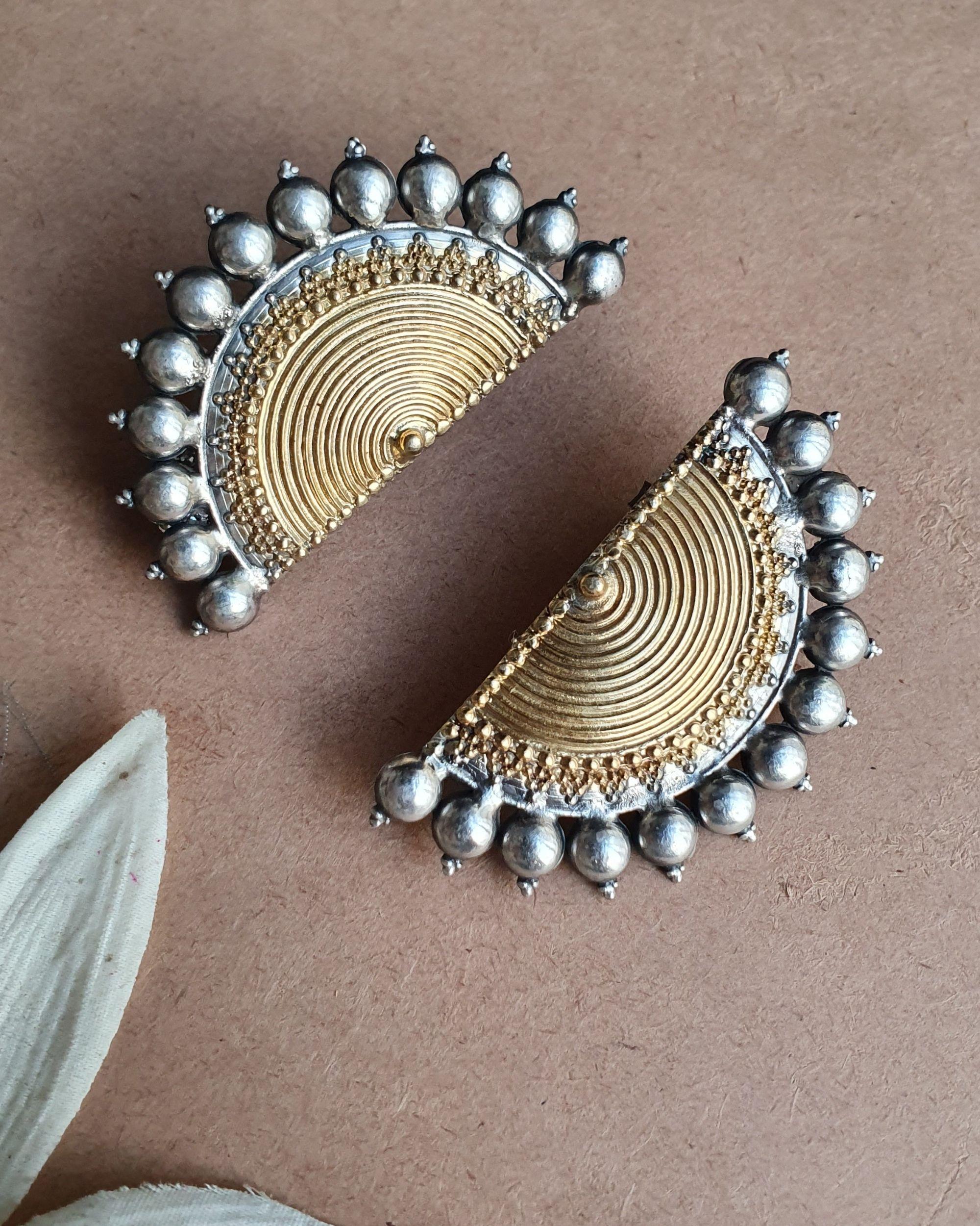 Dual tone half moon earrings