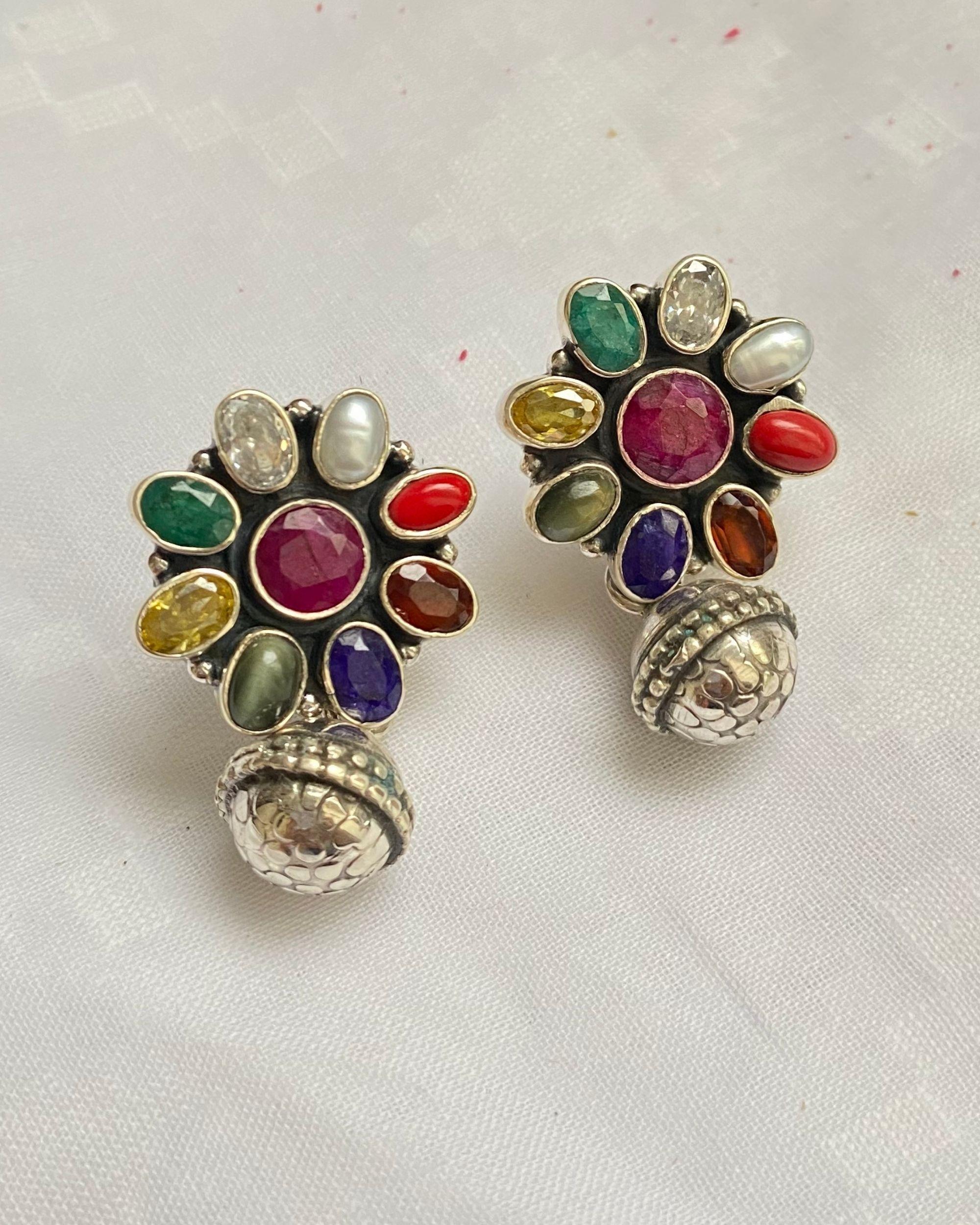 Navratna floral earrings