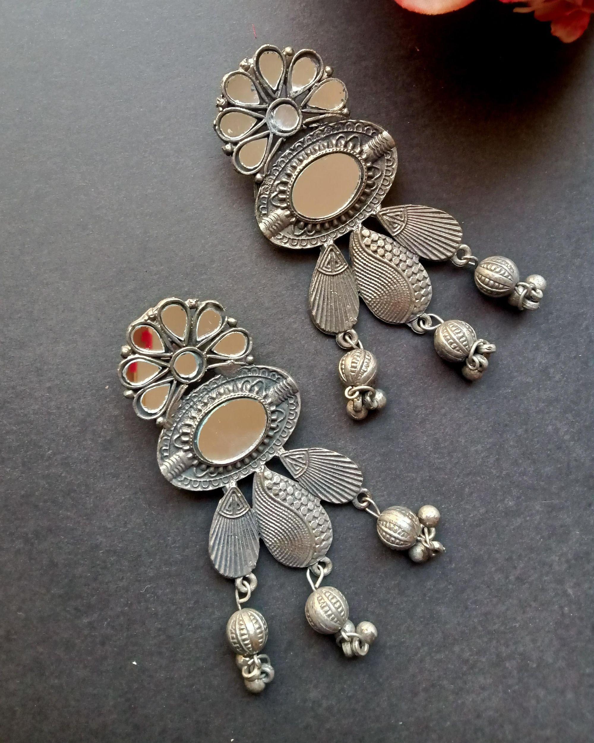 Floral engraved mirror earrings