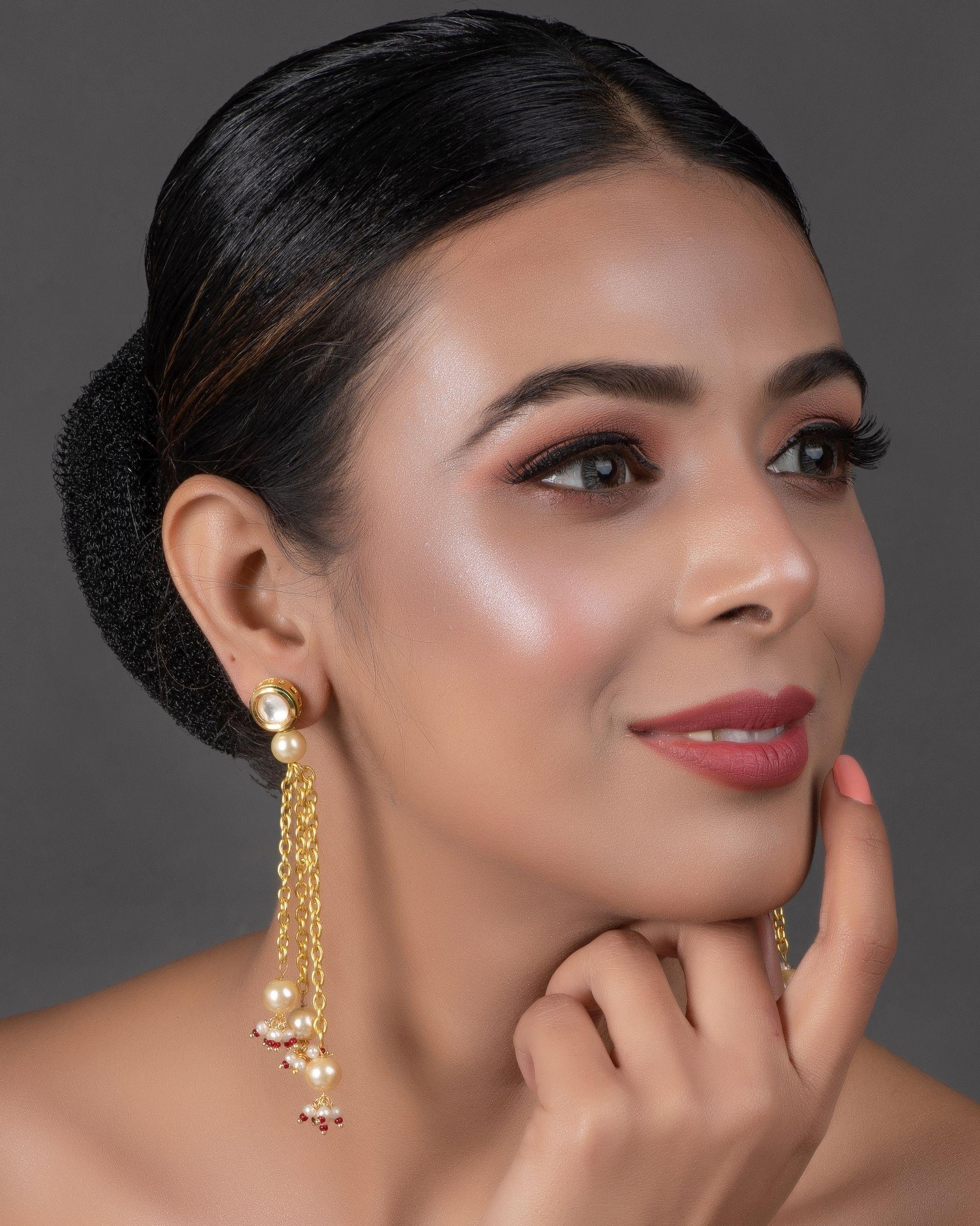 Kundan and pearl chain tassle earring