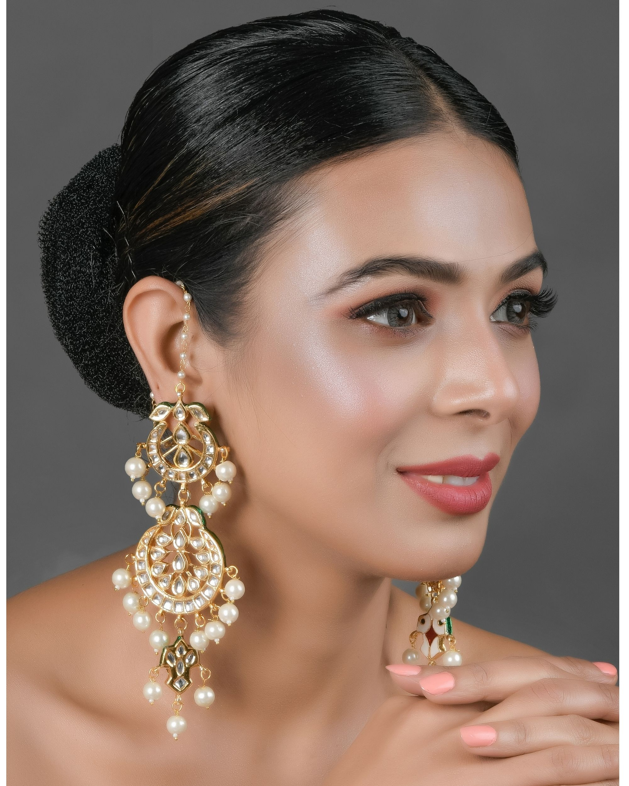 Crescent kundan and pearl beaded earrings with ear chain