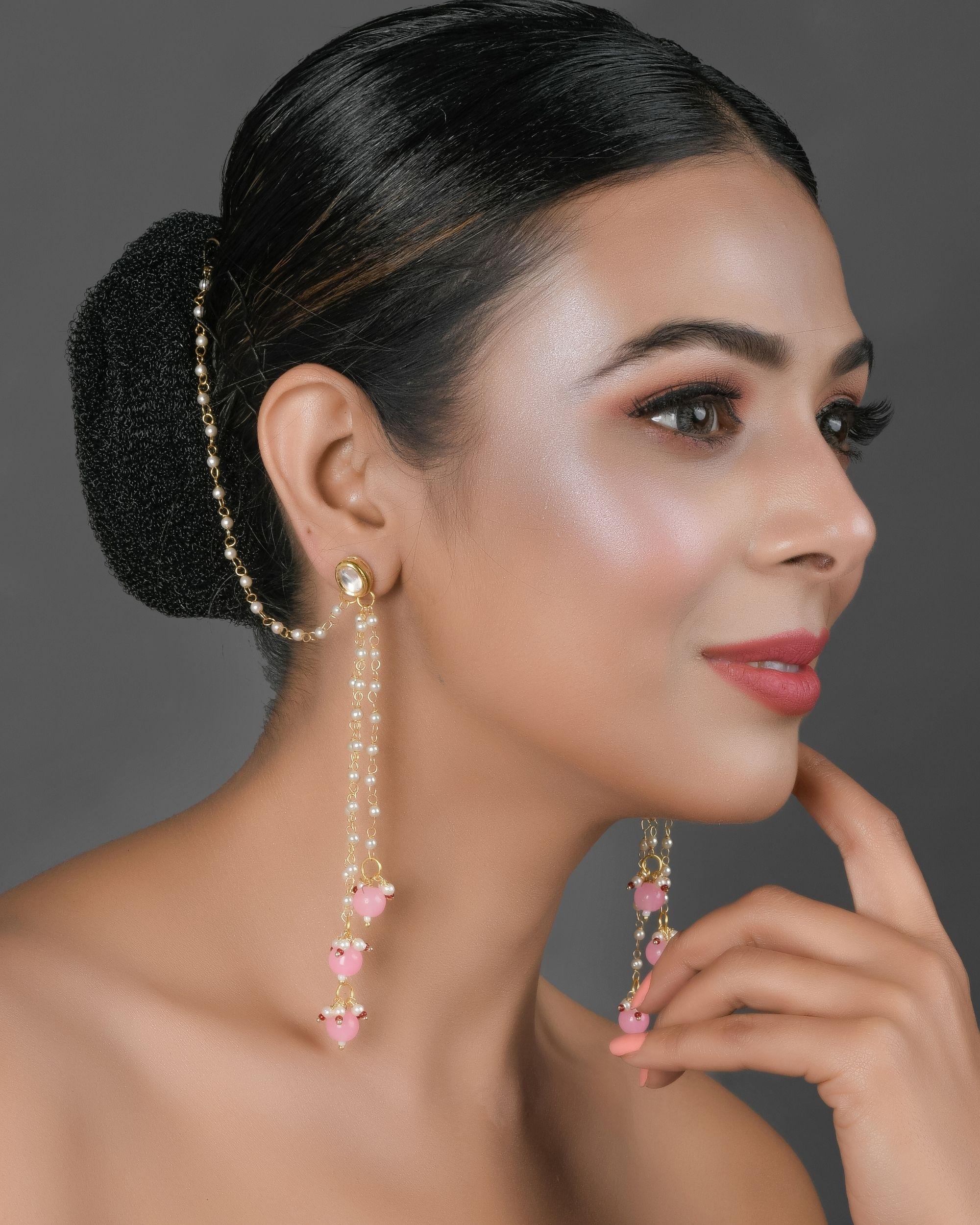 Kundan stone and pink beaded tassel earrings with hair chain
