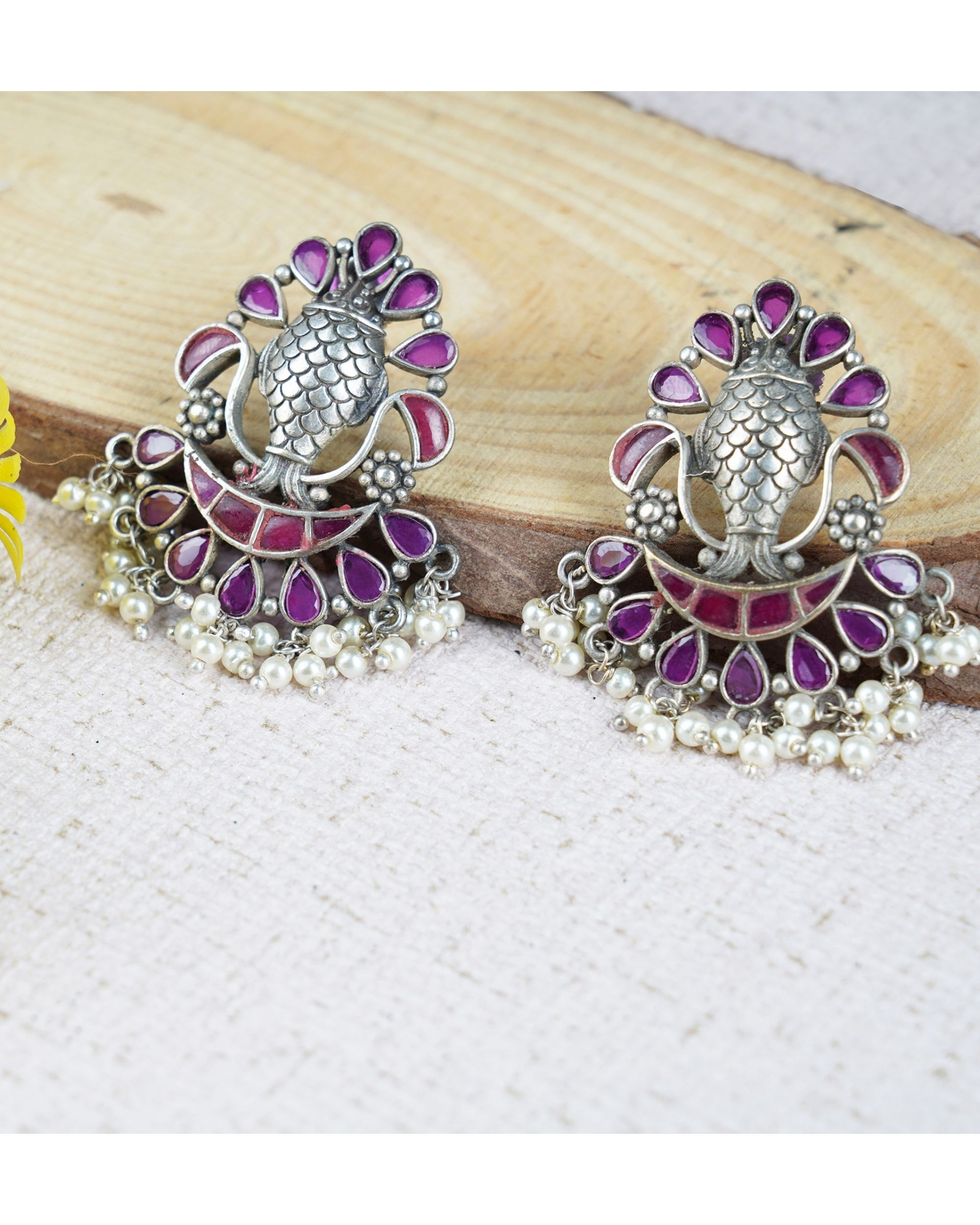 Fish engraved beaded earrings