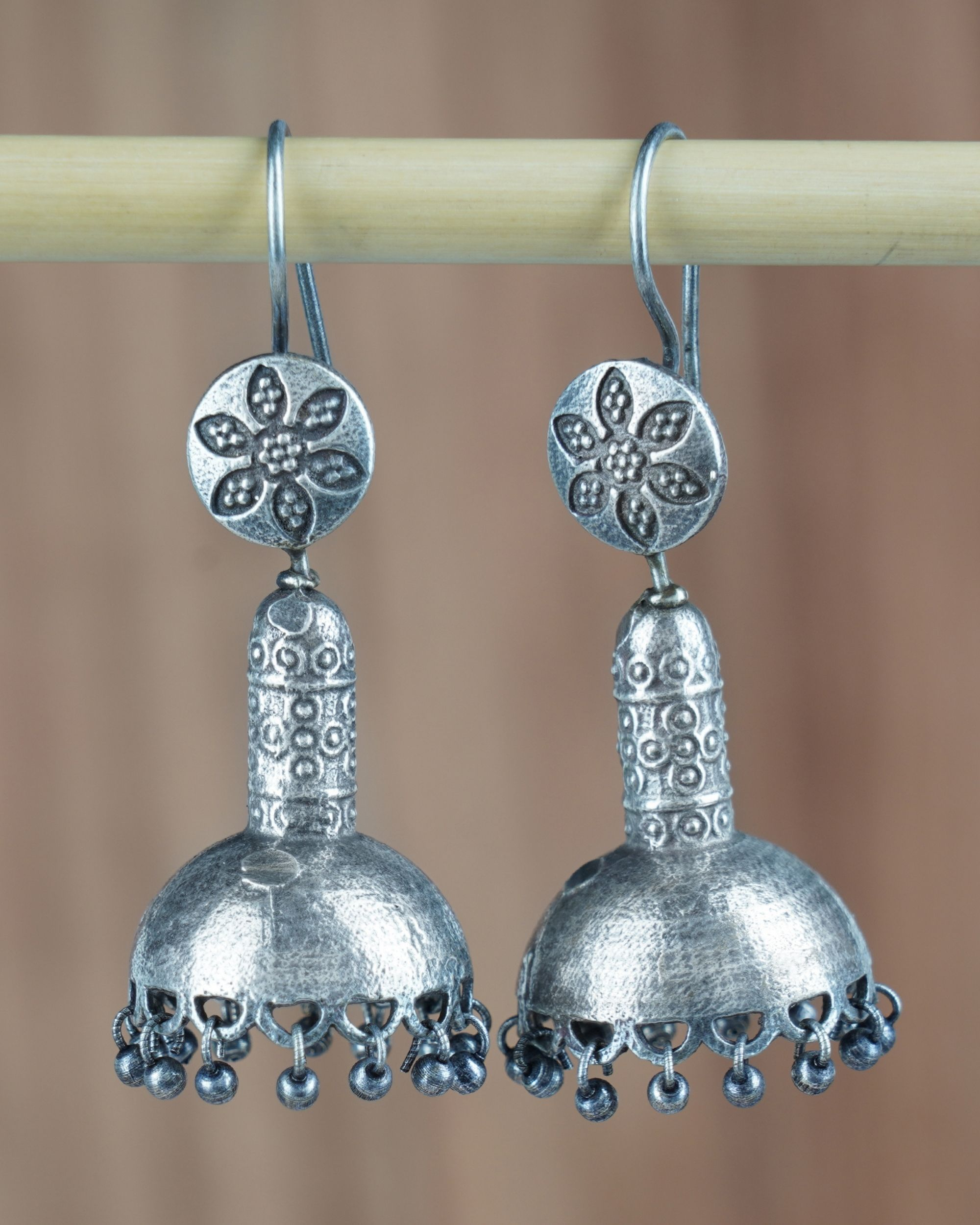 Dome shaped floral hook earrings