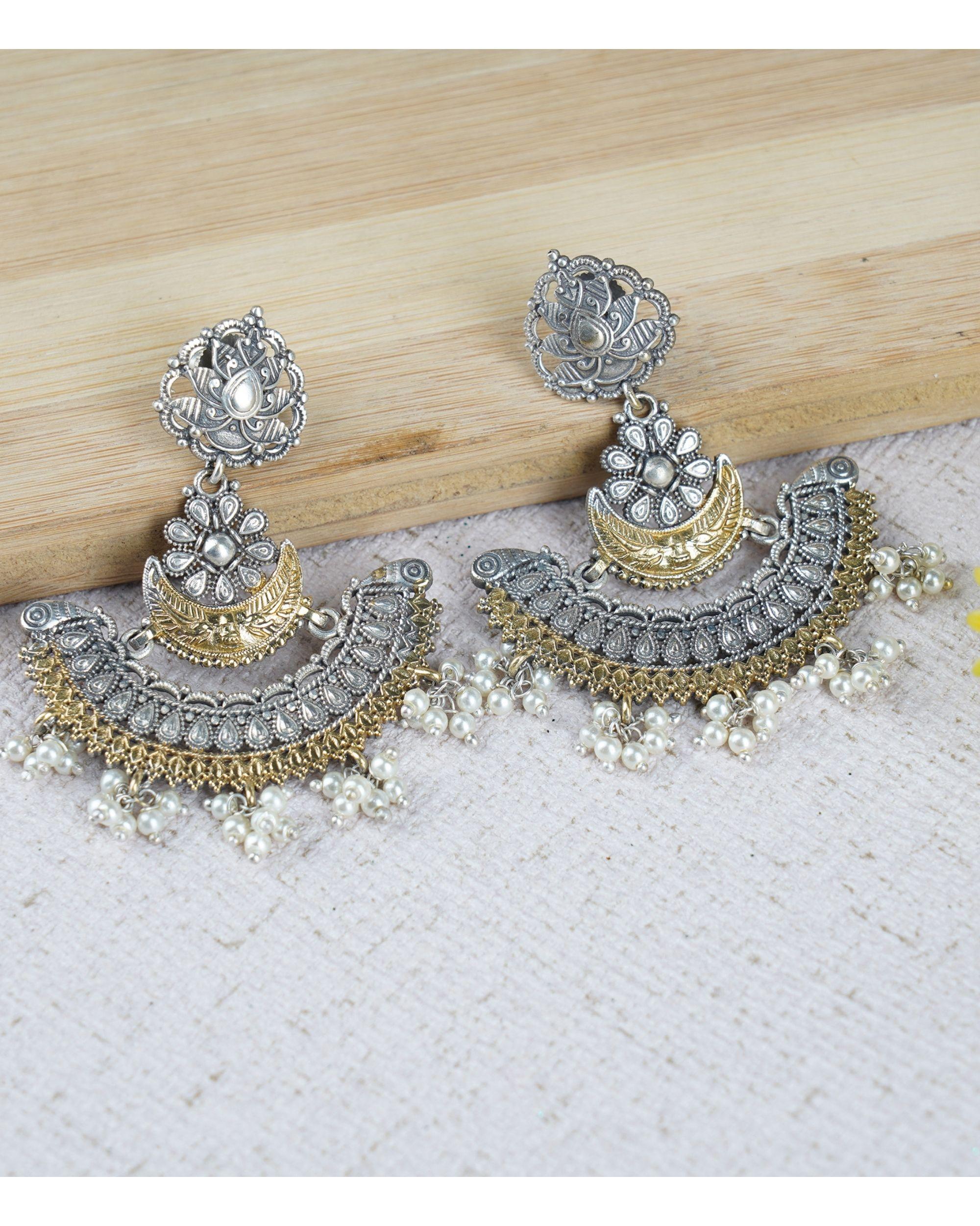 Dual toned moon earrings