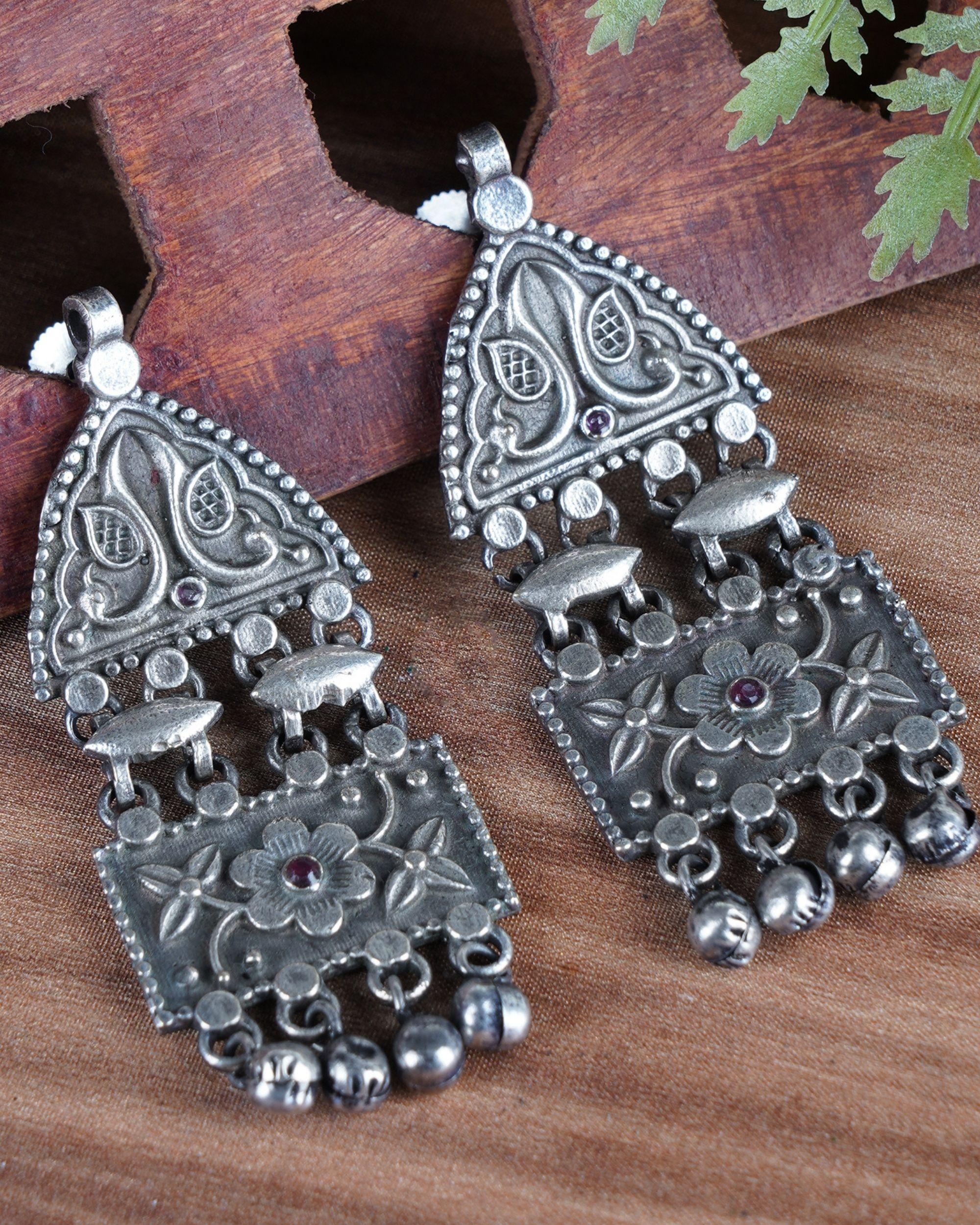 Geometric beaded brass earrings