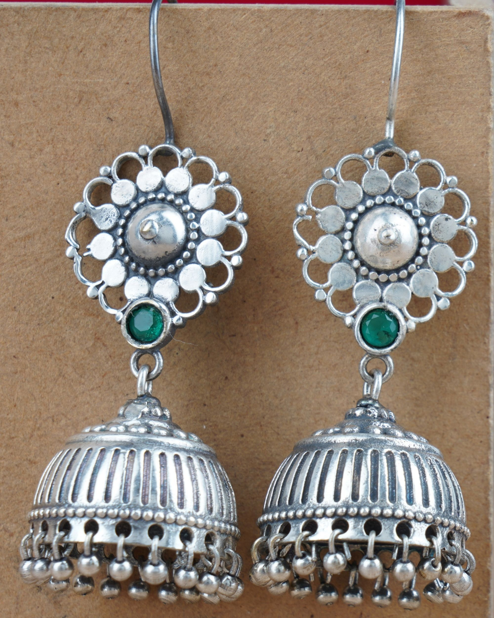 Floral and beaded jhumka