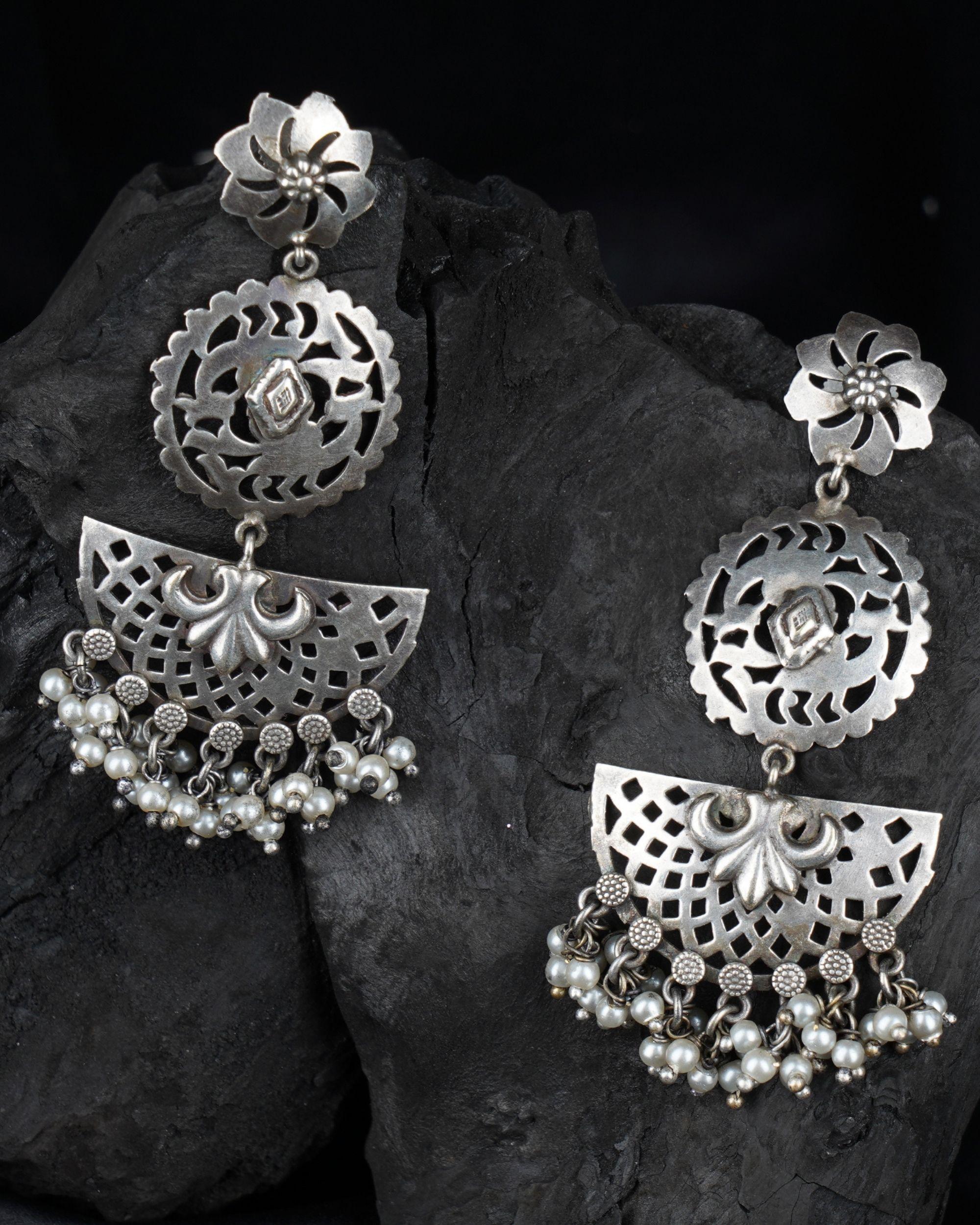 Moon shaped brass earrings