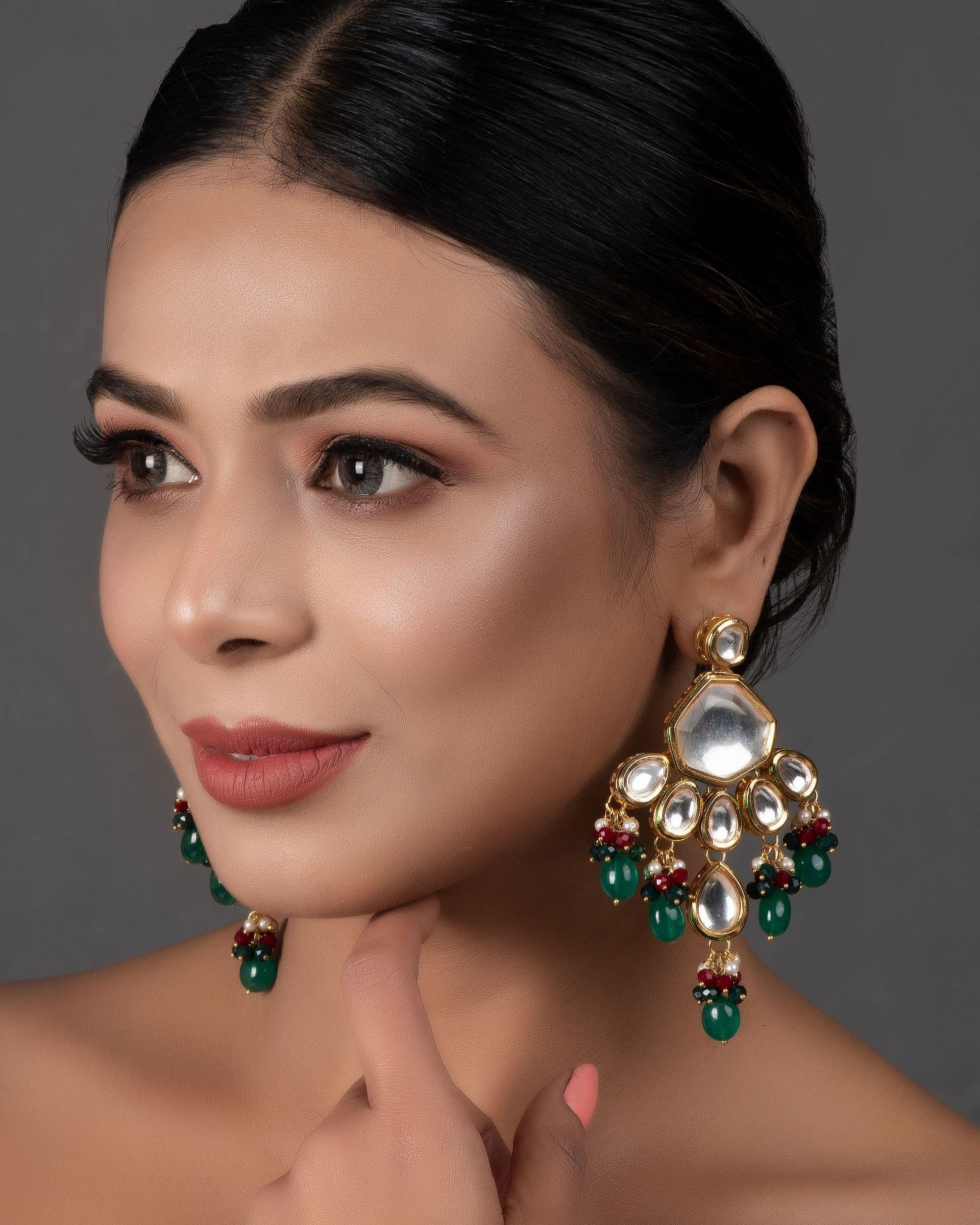 Emerald ruby and kundan drop earrings