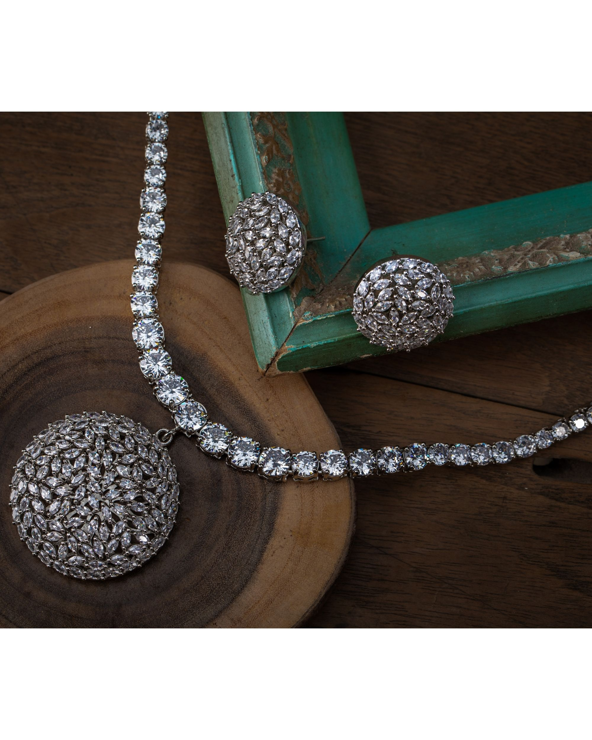 Crystal necklace and earring - set of two