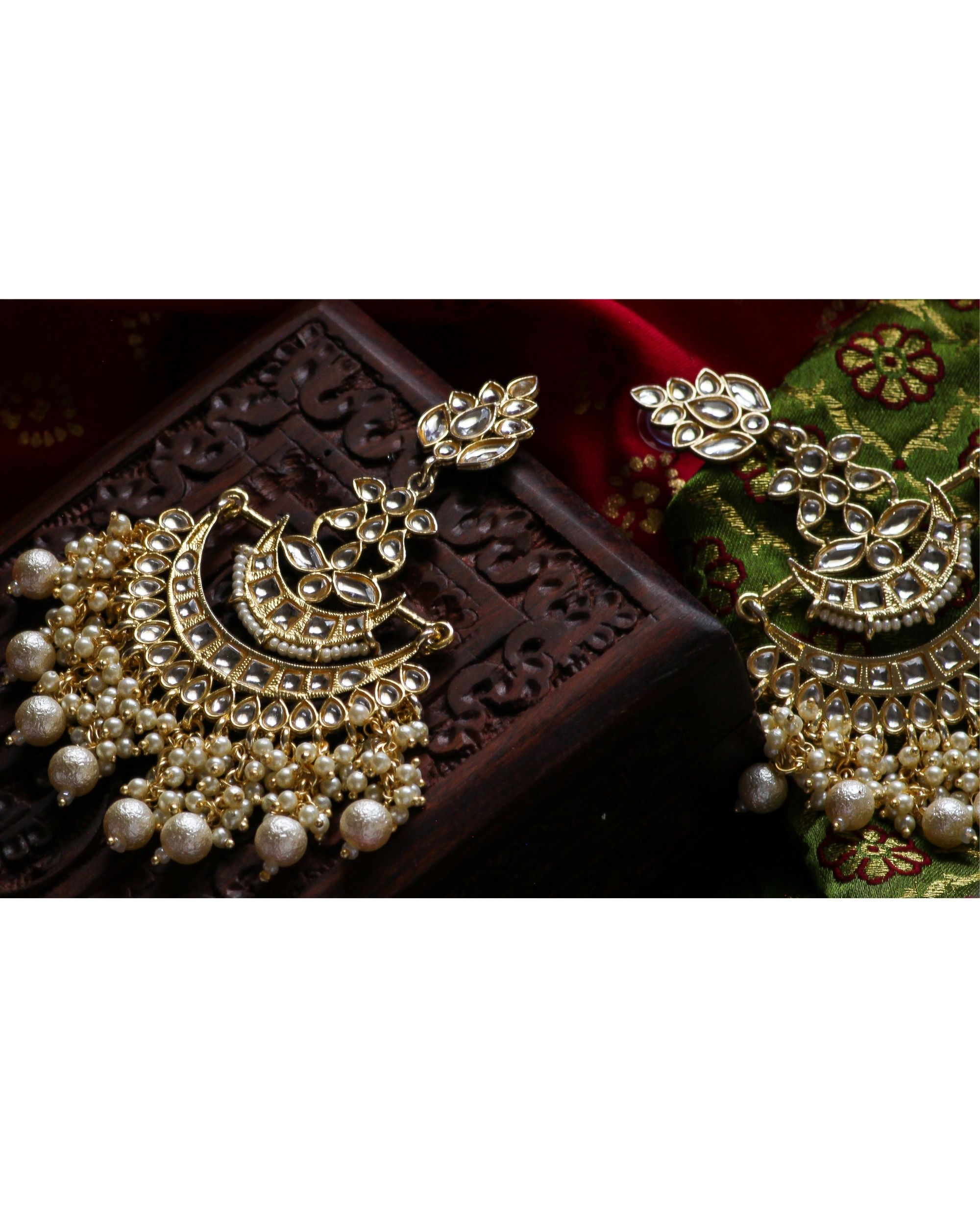 Kundan and pearl floral chandbali earring