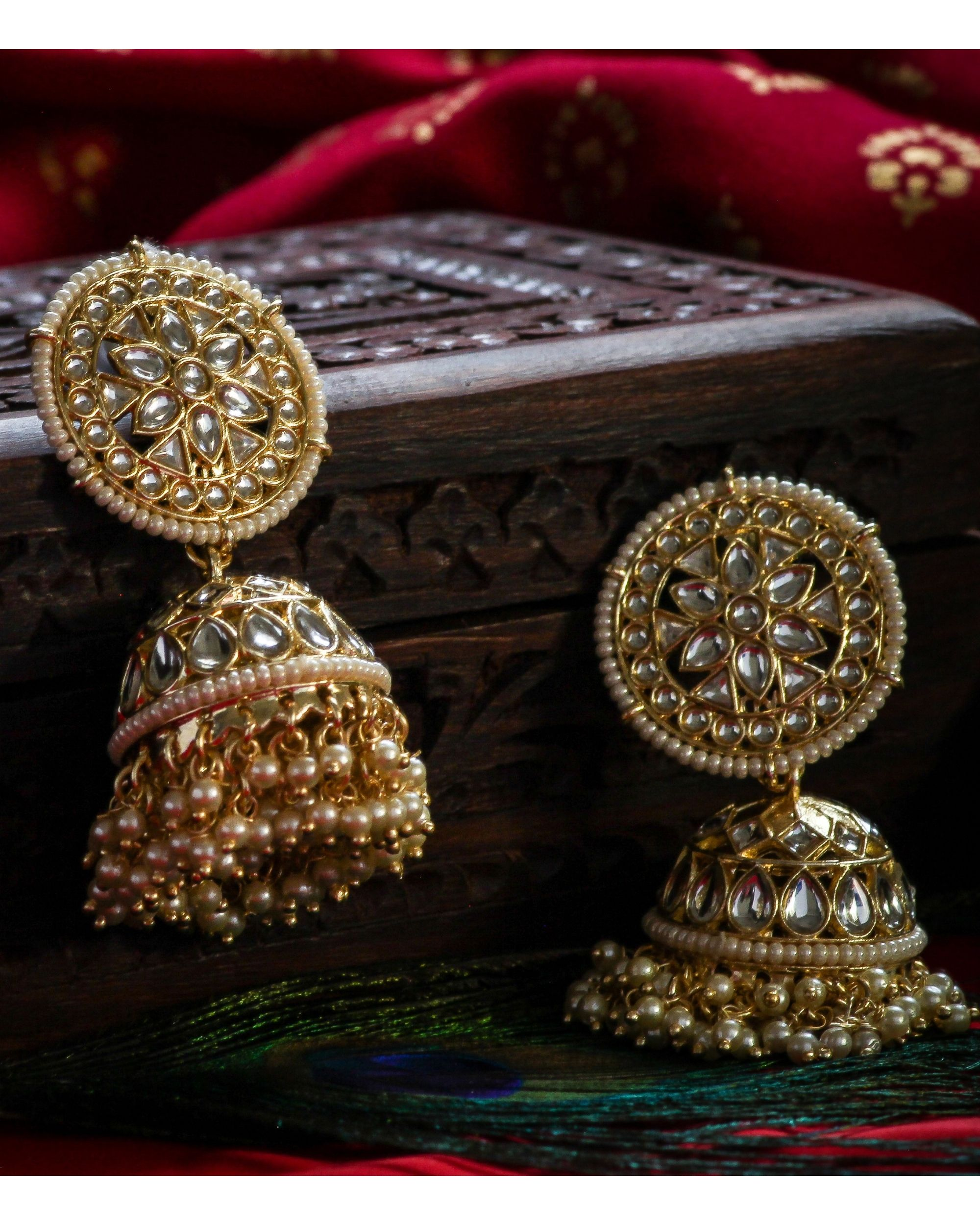 Kundan and pearl floral jhumka