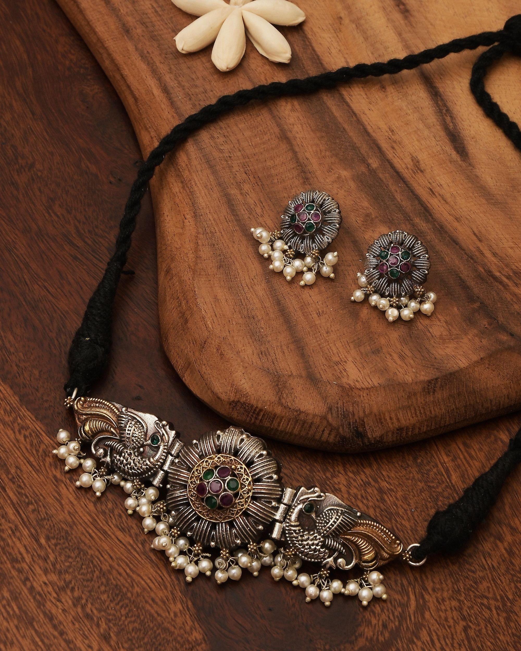 Peacock floral dual tone choker and earring - set of two