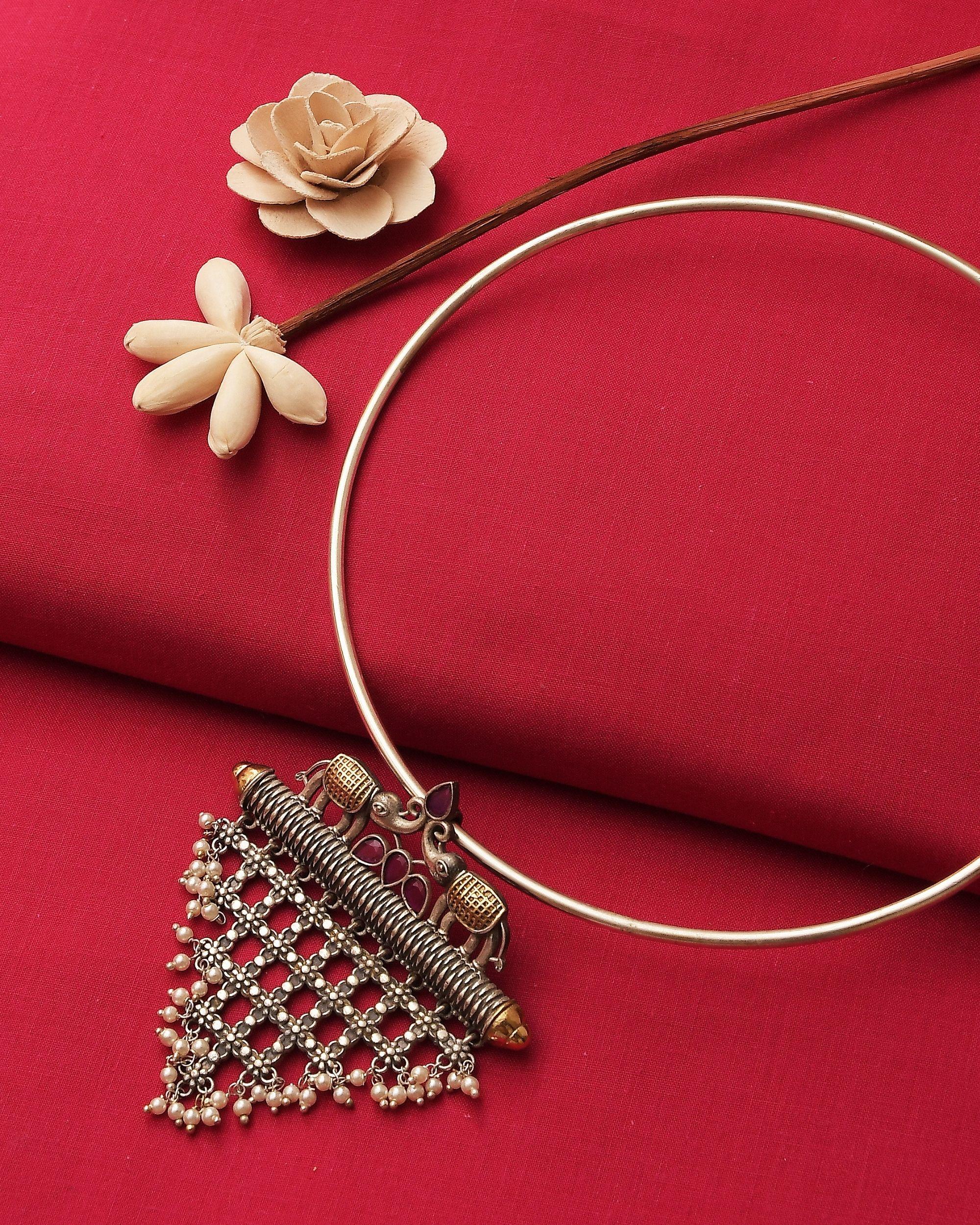 Elephant jali motif dual tone necklace