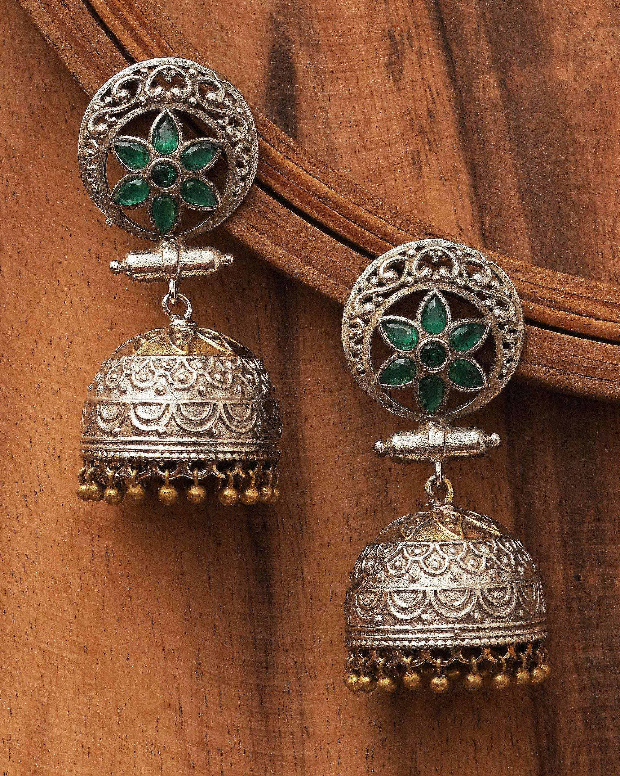 Dual toned floral antique dome jhumka