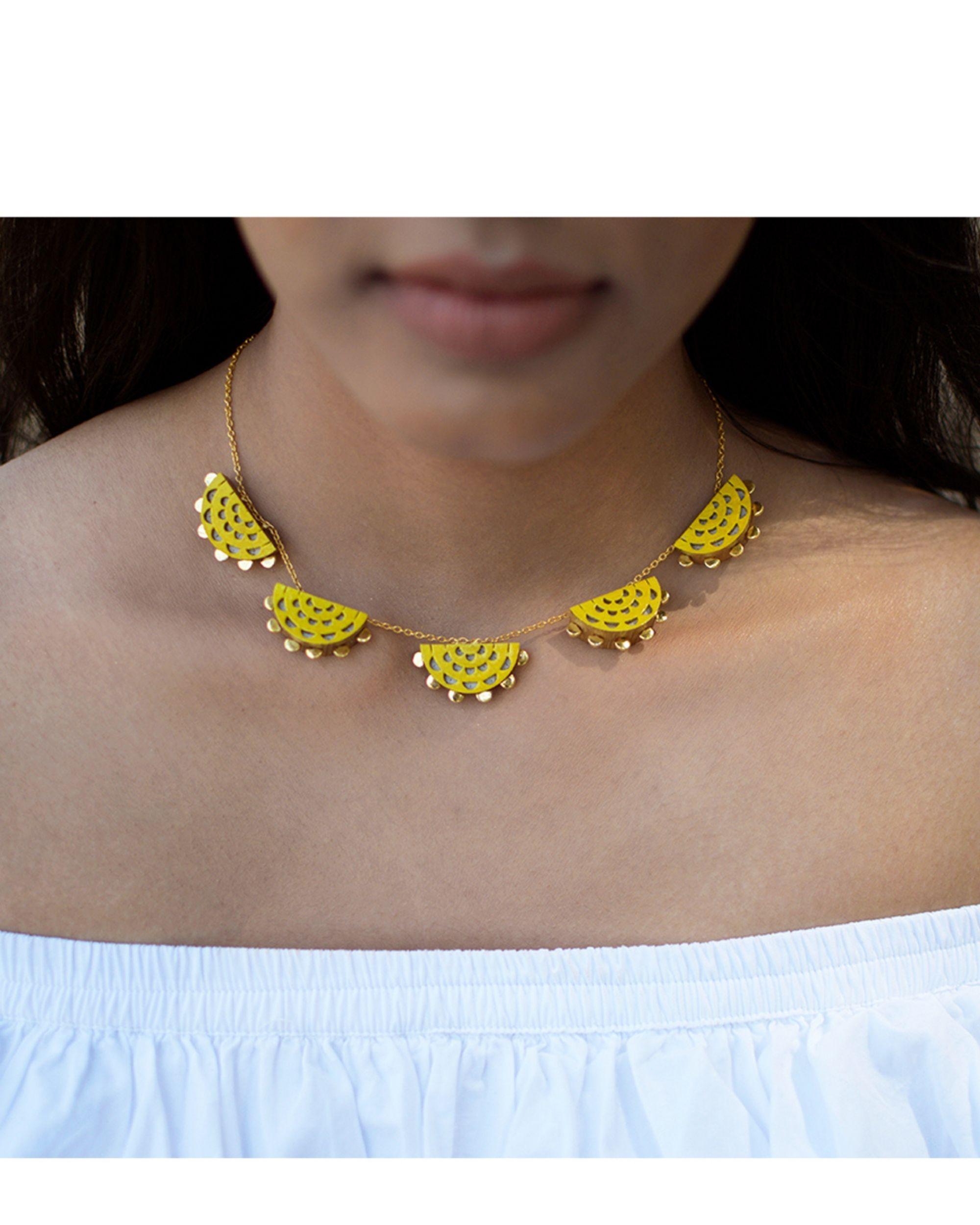 Yellow sun neckpiece