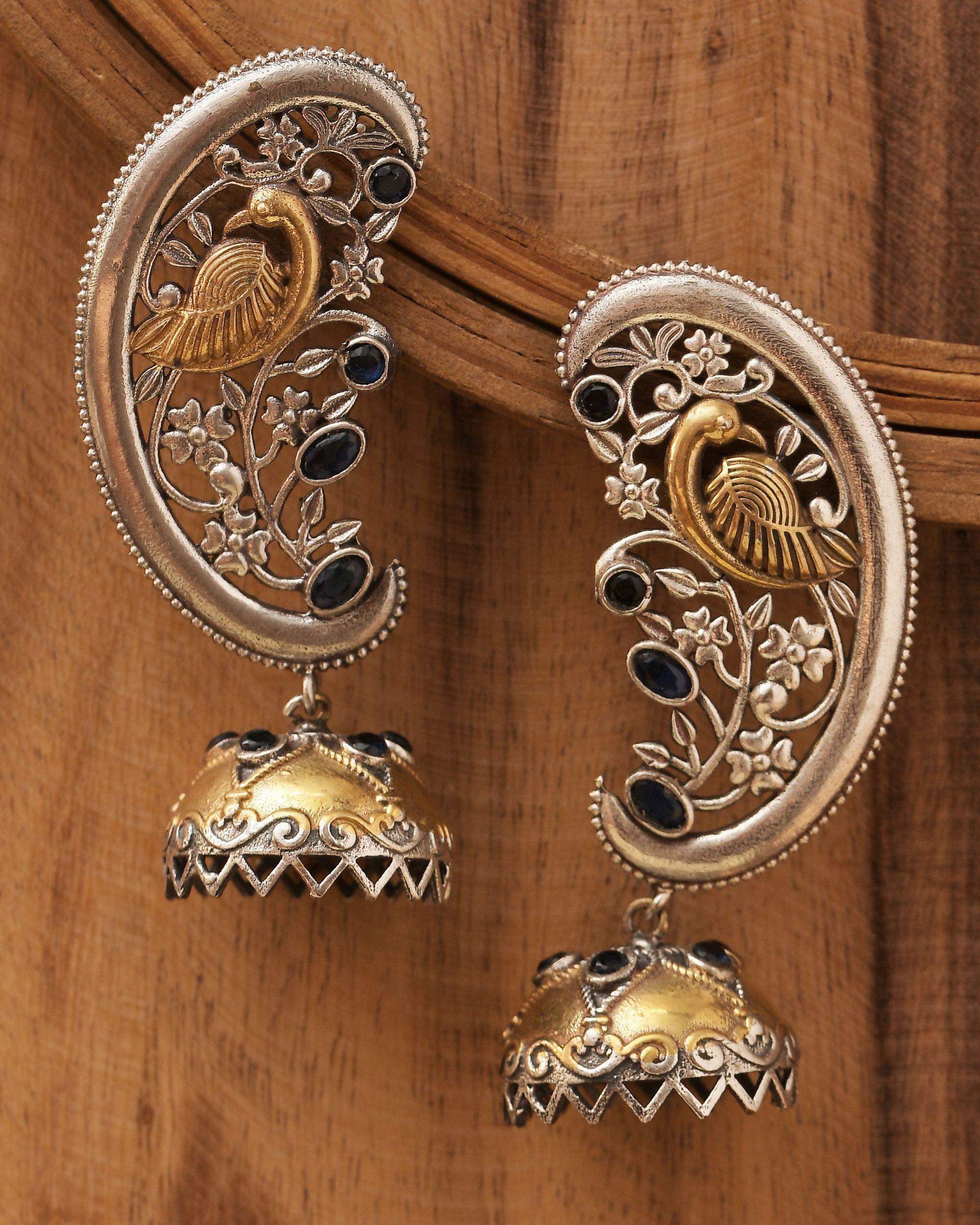 Dual toned peacock ear cuff with jhumka