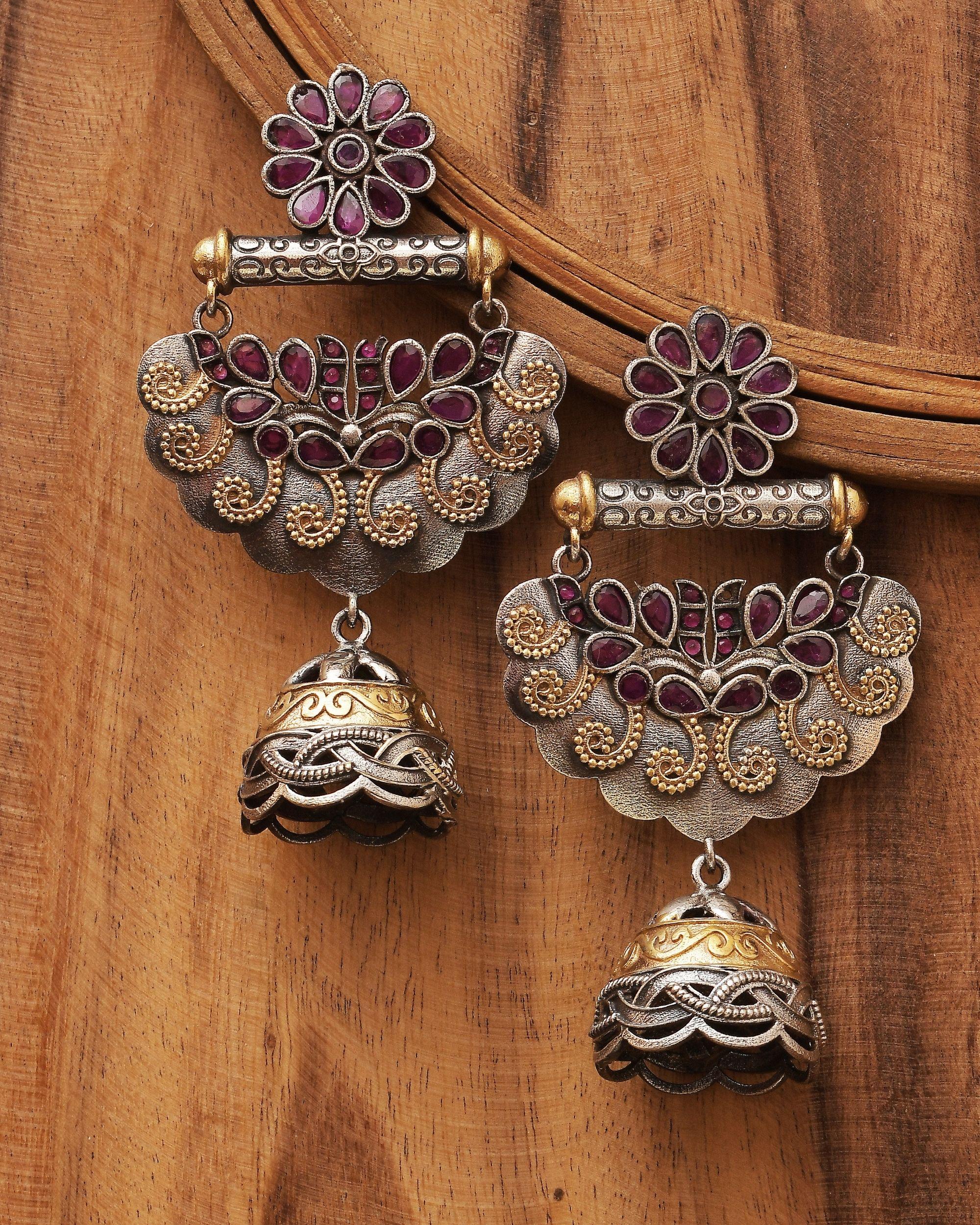Dual toned floral stone jhumka