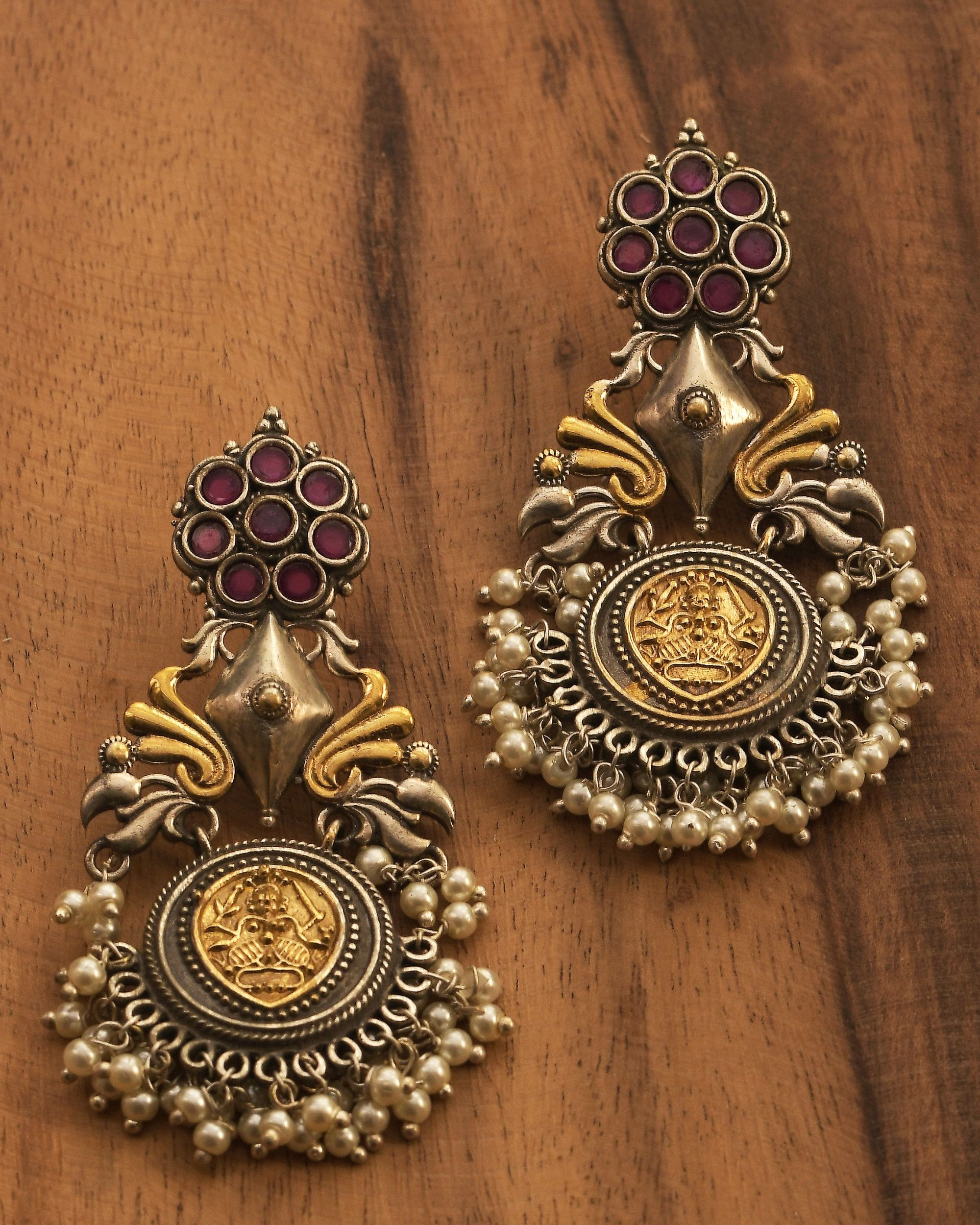 Dual toned beaded antique peacock earring