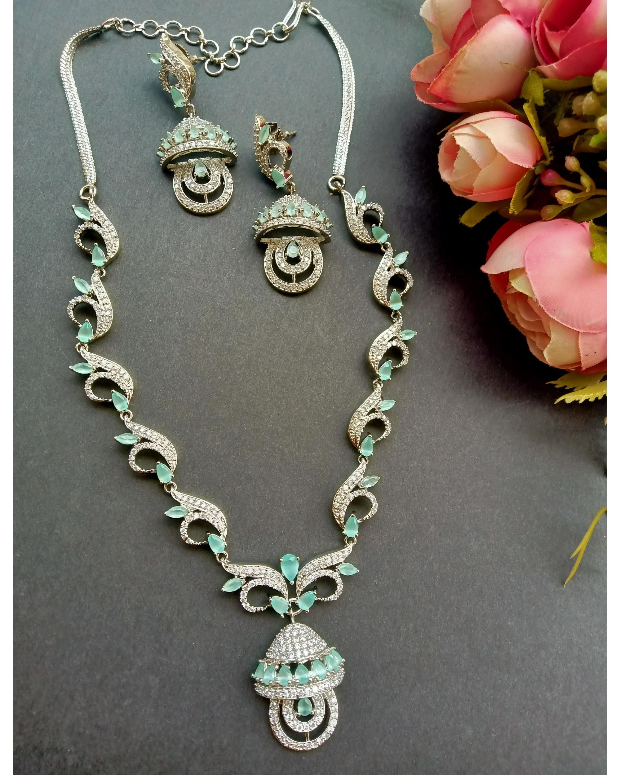 Mint green stone embedded neckpiece with earrings - set of two